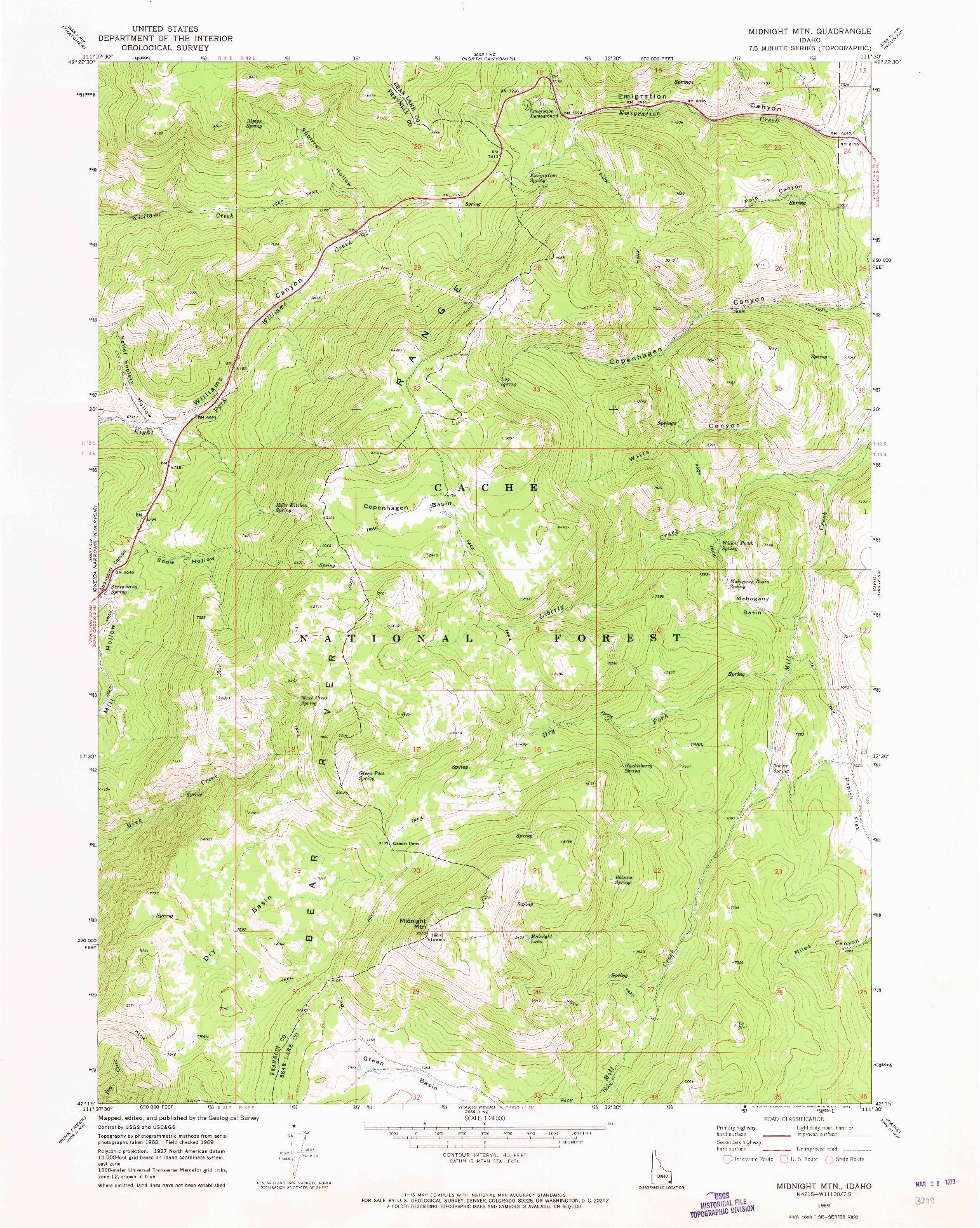 USGS 1:24000-SCALE QUADRANGLE FOR MIDNIGHT MTN, ID 1969