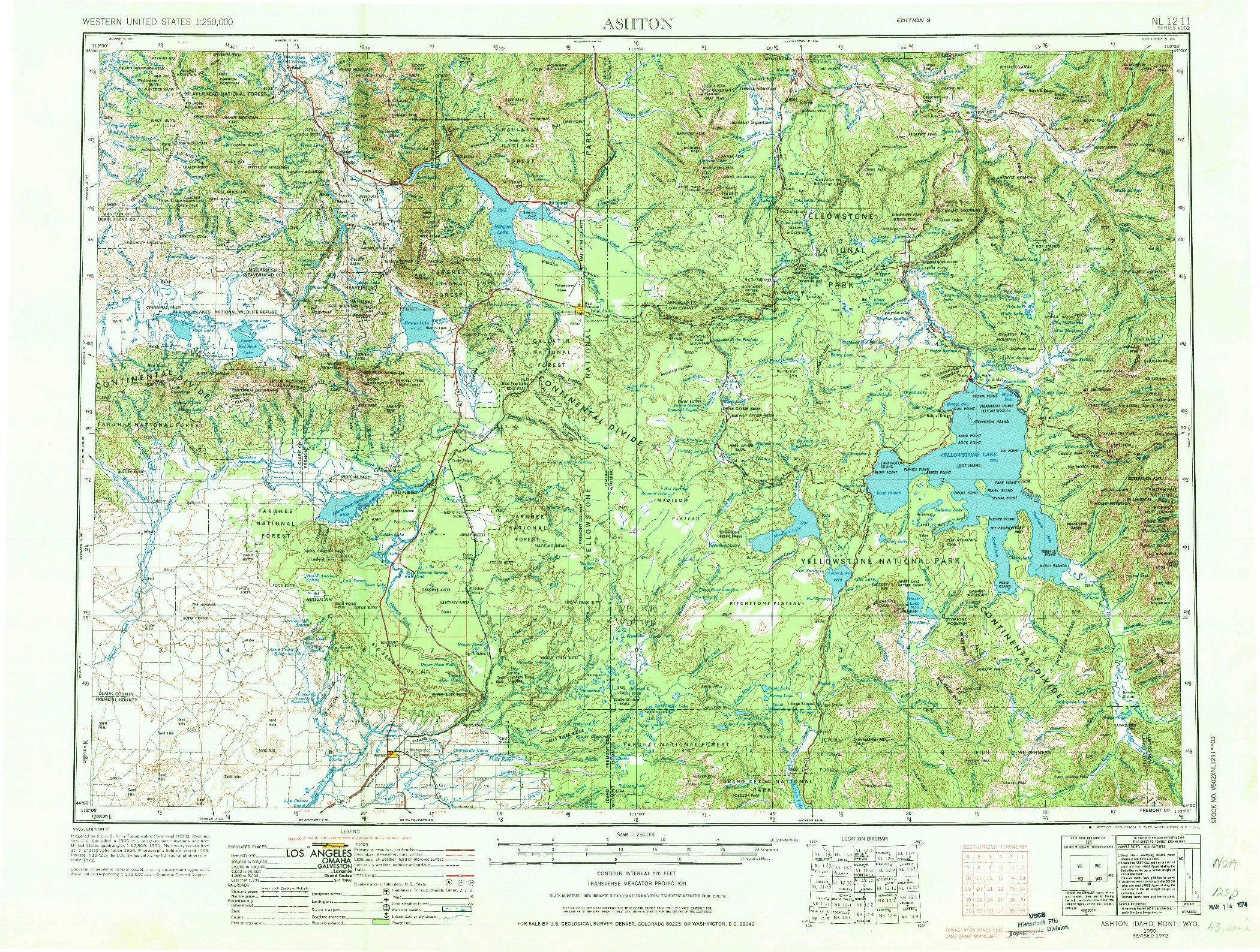 USGS 1:250000-SCALE QUADRANGLE FOR ASHTON, ID 1955