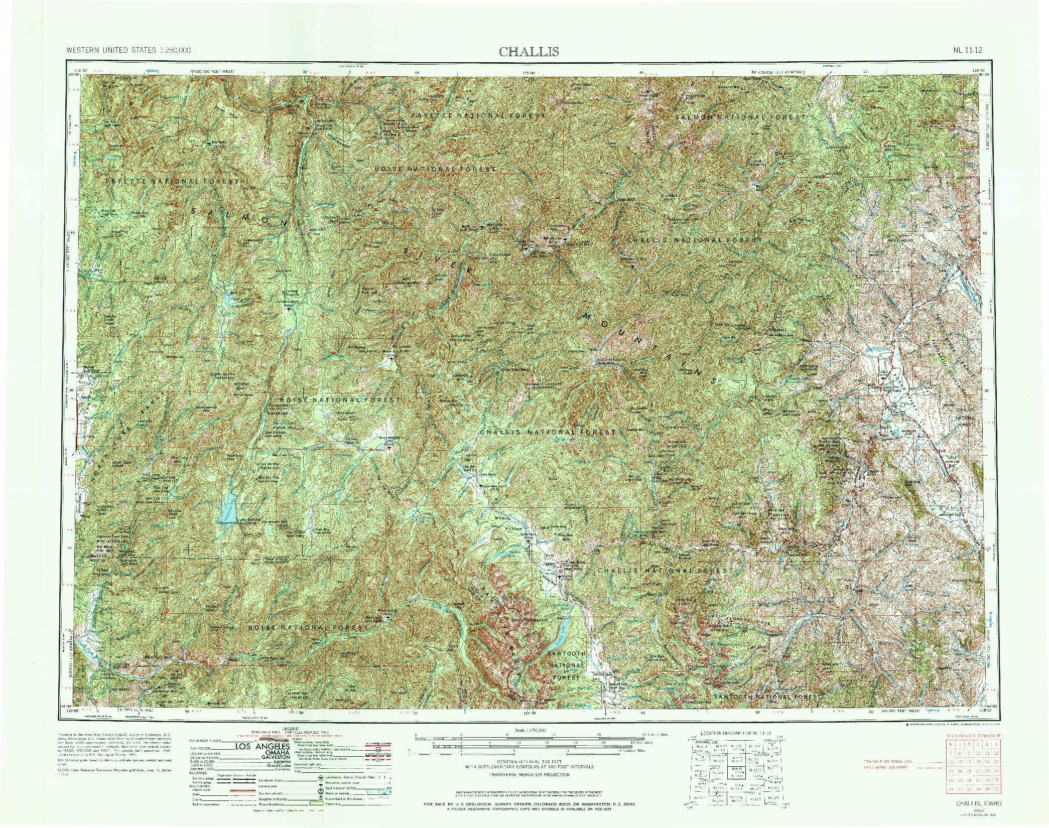 USGS 1:250000-SCALE QUADRANGLE FOR CHALLIS, ID 1957