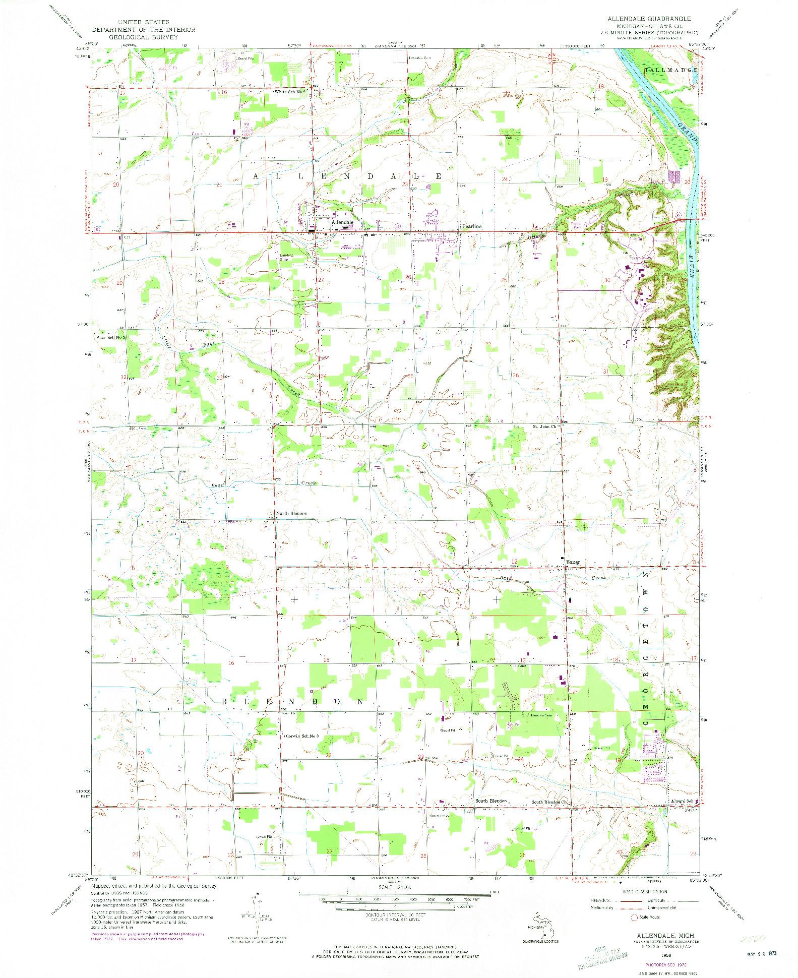 USGS 1:24000-SCALE QUADRANGLE FOR ALLENDALE, MI 1958