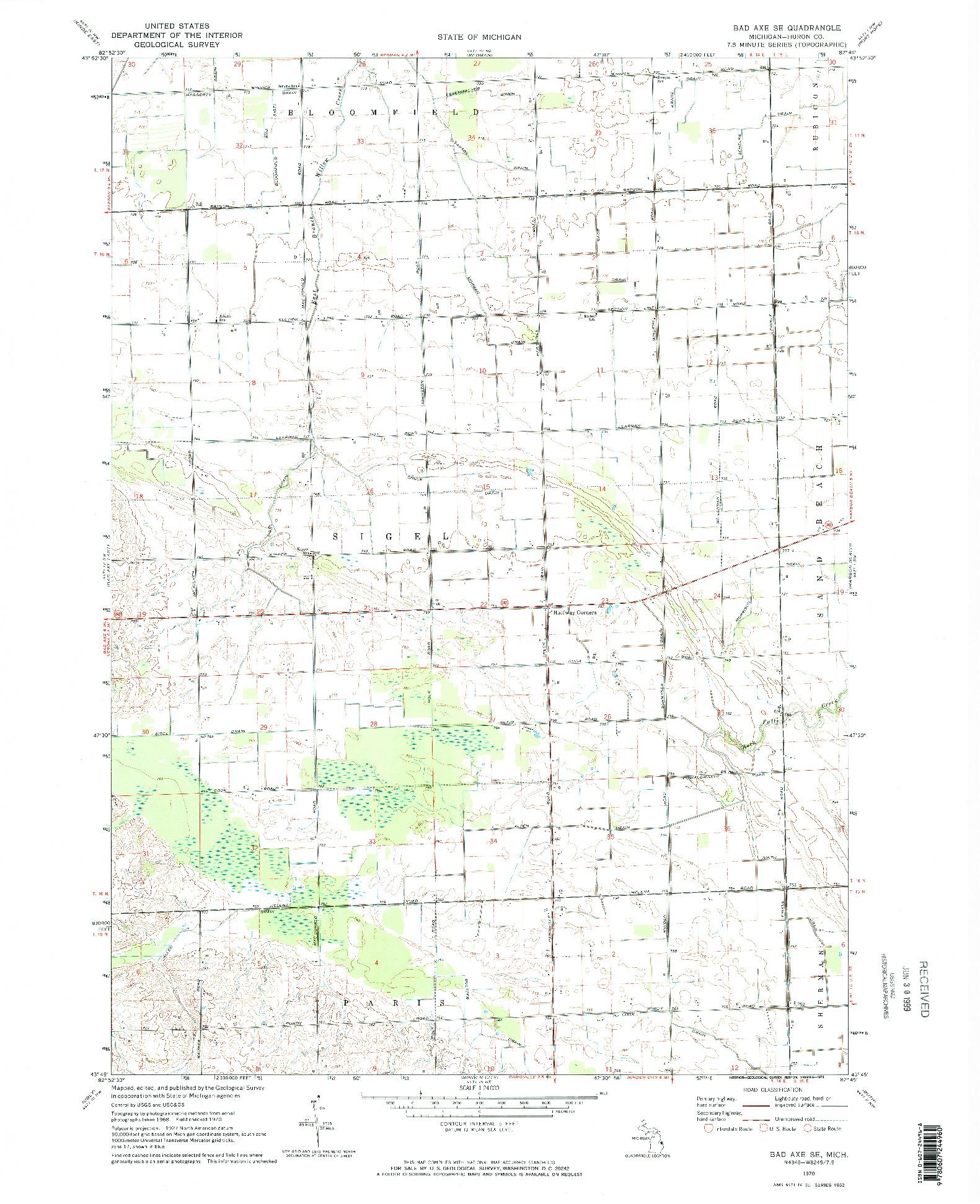 USGS 1:24000-SCALE QUADRANGLE FOR BAD AXE SE, MI 1970