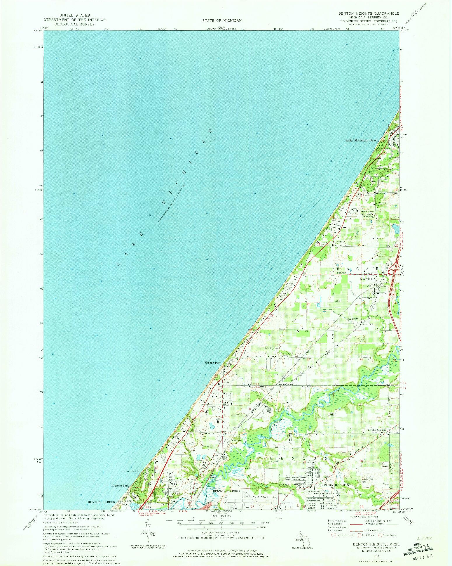 USGS 1:24000-SCALE QUADRANGLE FOR BENTON HEIGHTS, MI 1970