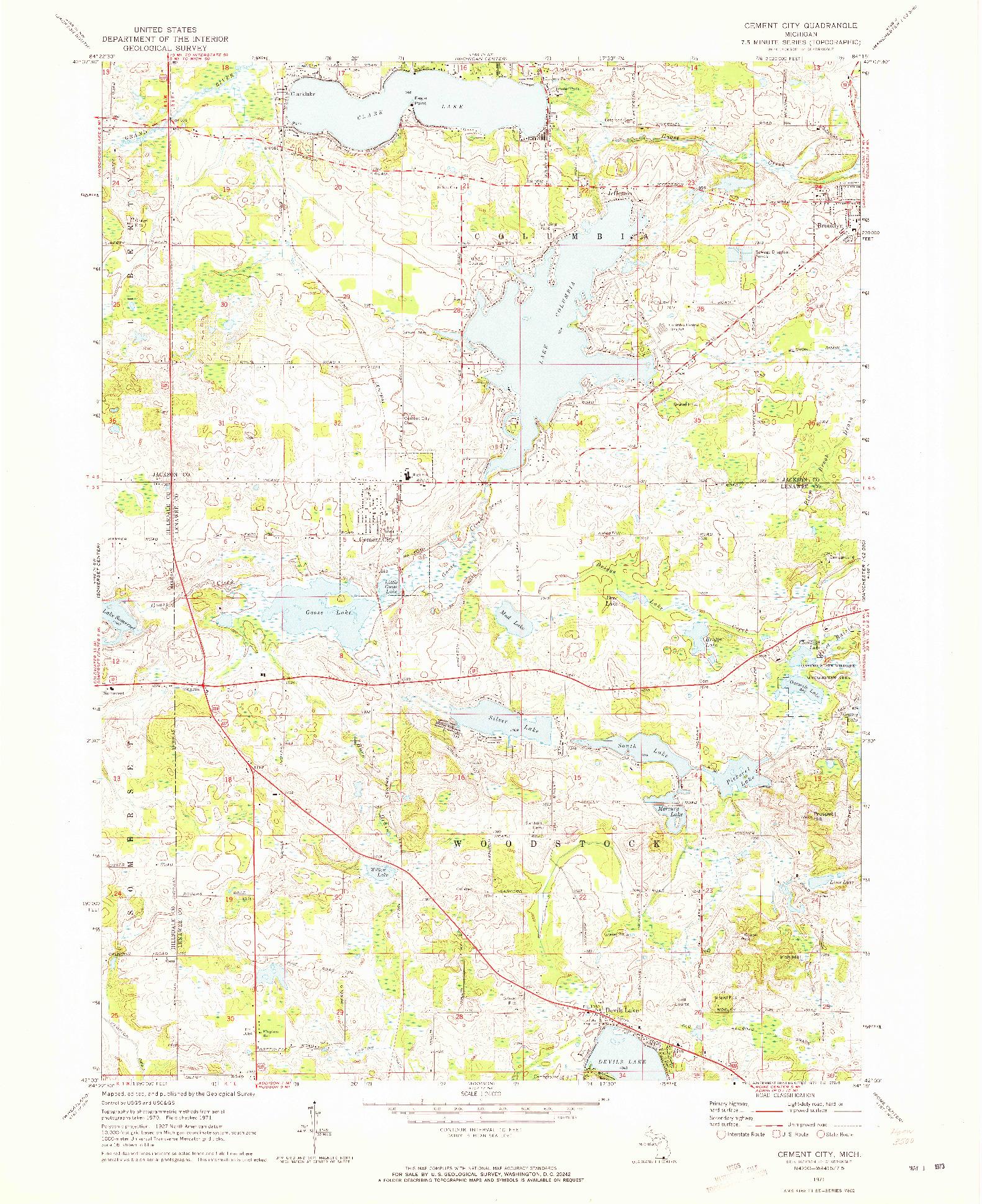 USGS 1:24000-SCALE QUADRANGLE FOR CEMENT CITY, MI 1971