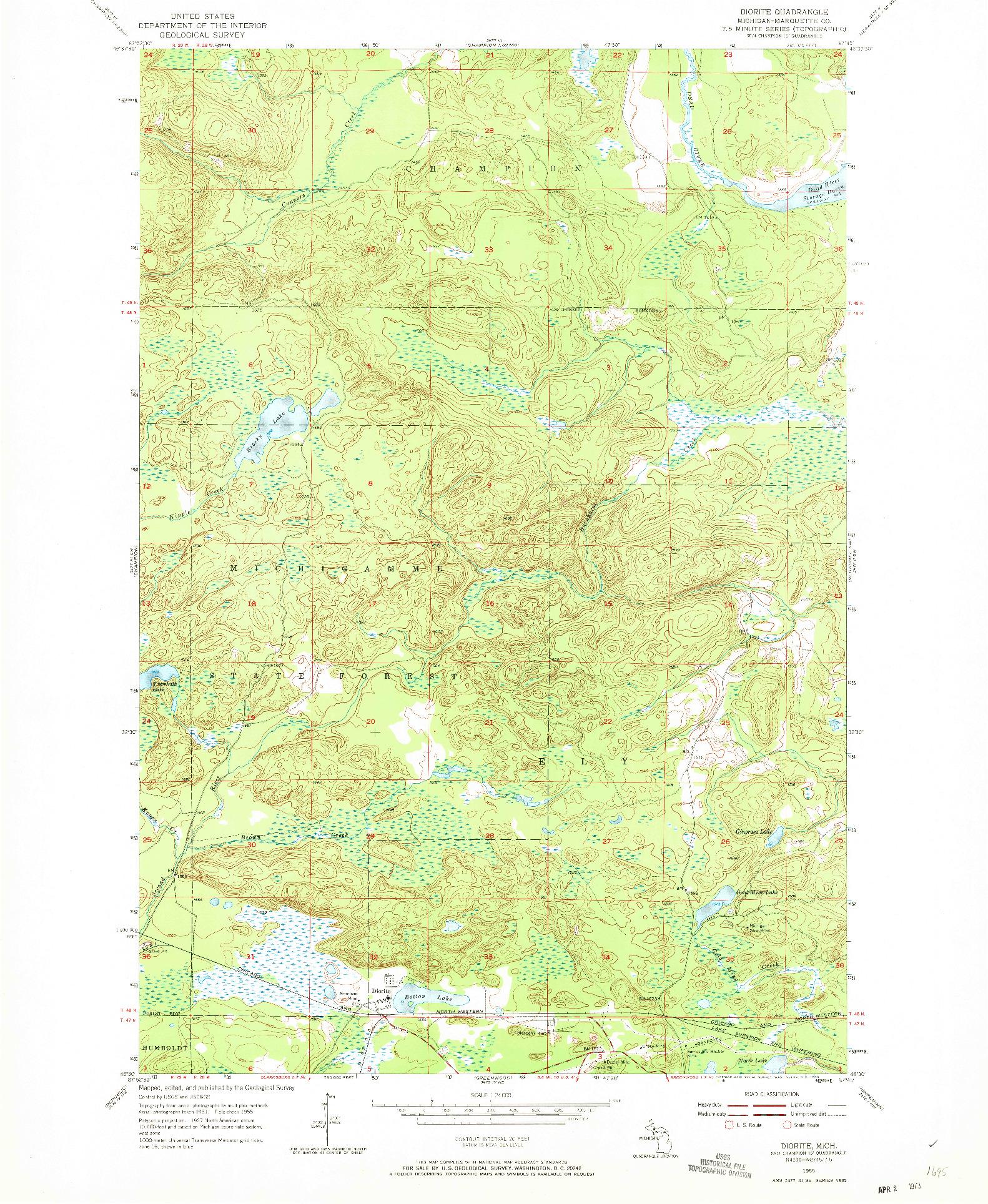 USGS 1:24000-SCALE QUADRANGLE FOR DIORITE, MI 1955