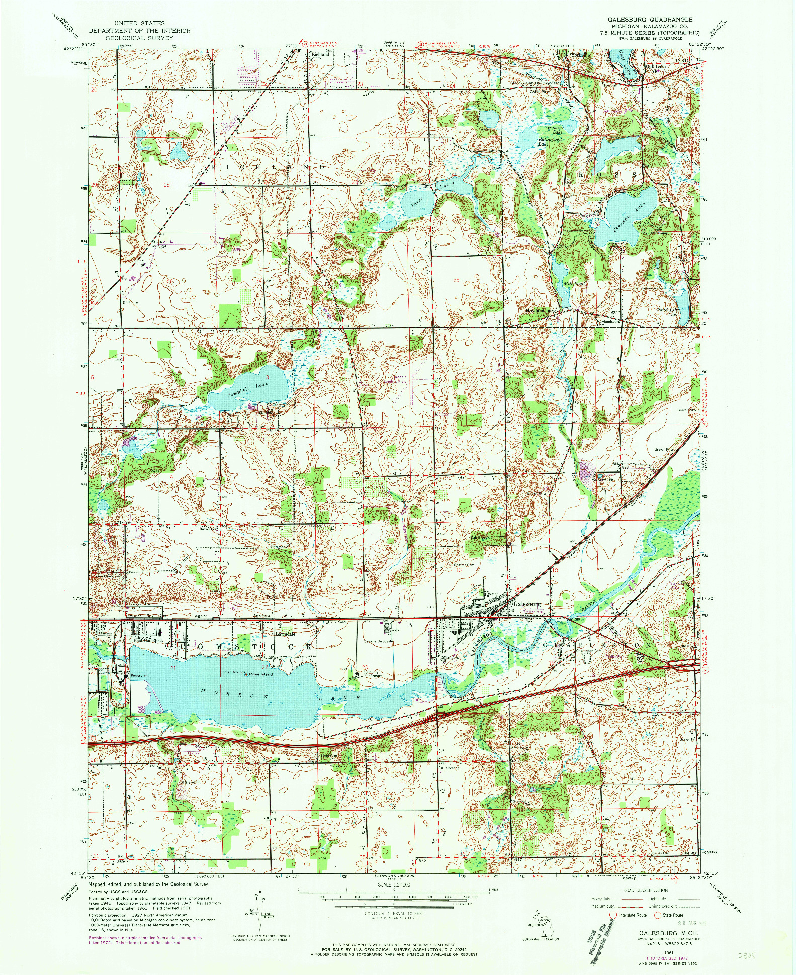 USGS 1:24000-SCALE QUADRANGLE FOR GALESBURG, MI 1961