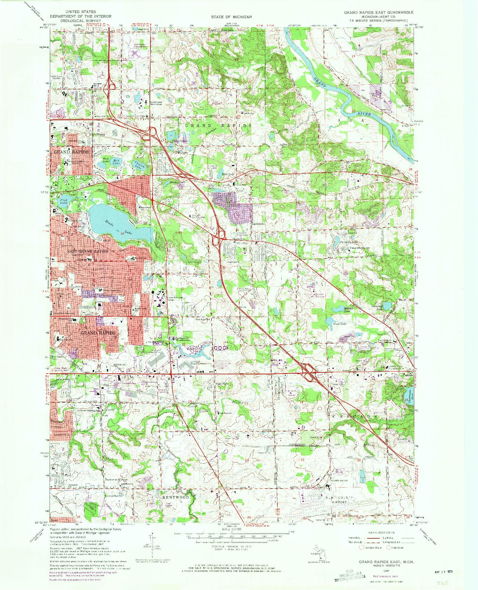 USGS 1:24000-SCALE QUADRANGLE FOR GRAND RAPIDS EAST, MI 1967