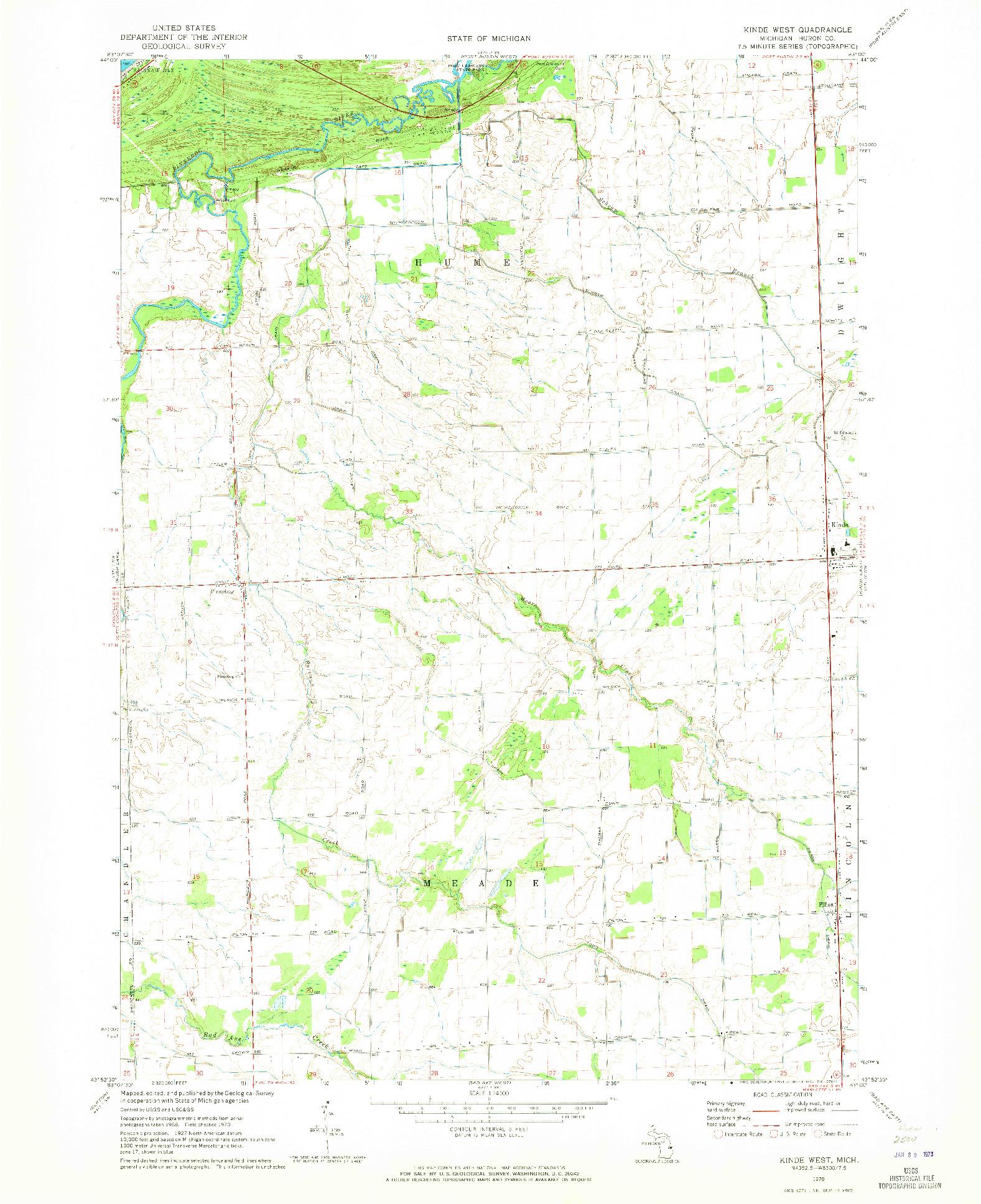 USGS 1:24000-SCALE QUADRANGLE FOR KINDE WEST, MI 1970
