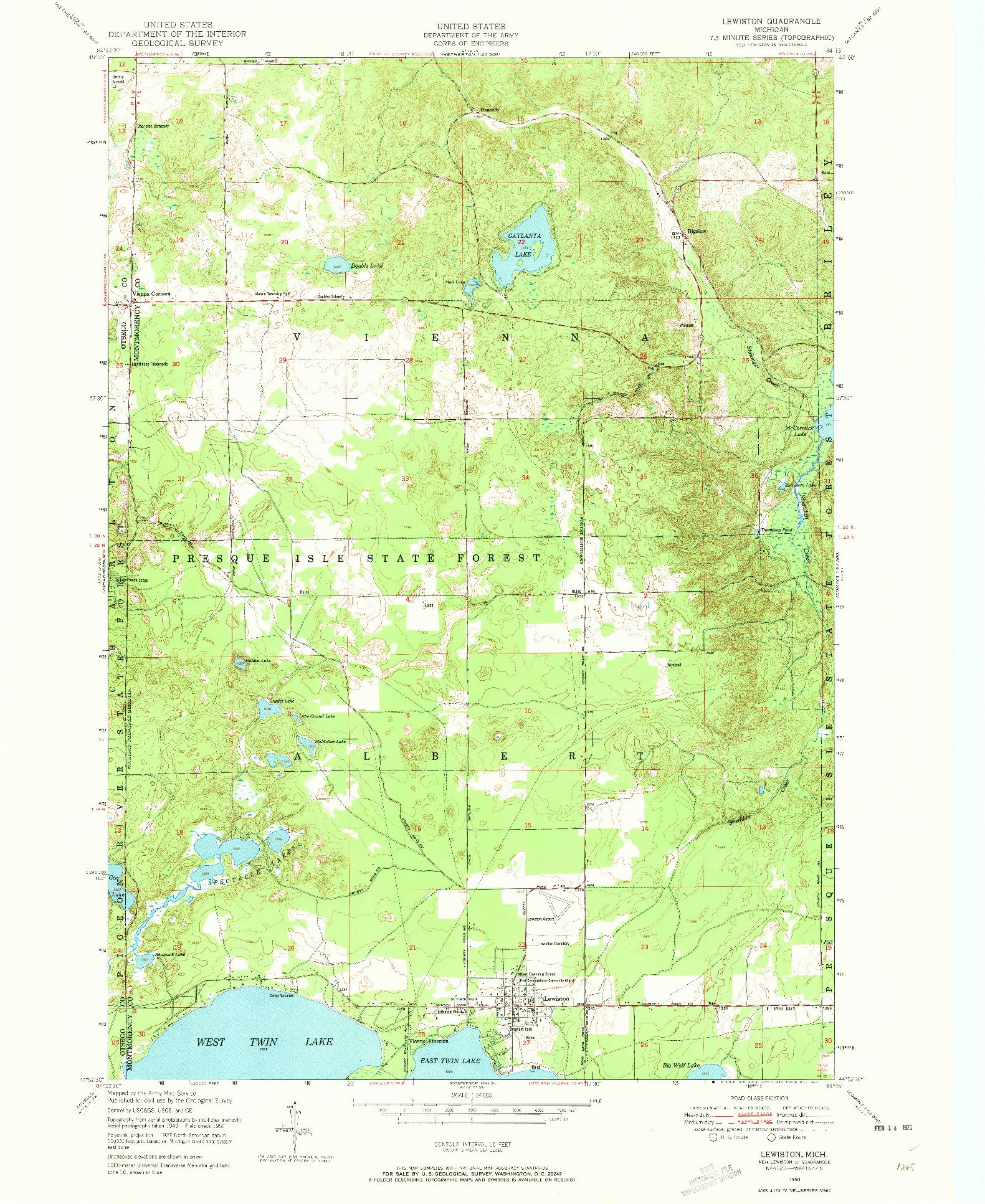 USGS 1:24000-SCALE QUADRANGLE FOR LEWISTON, MI 1950