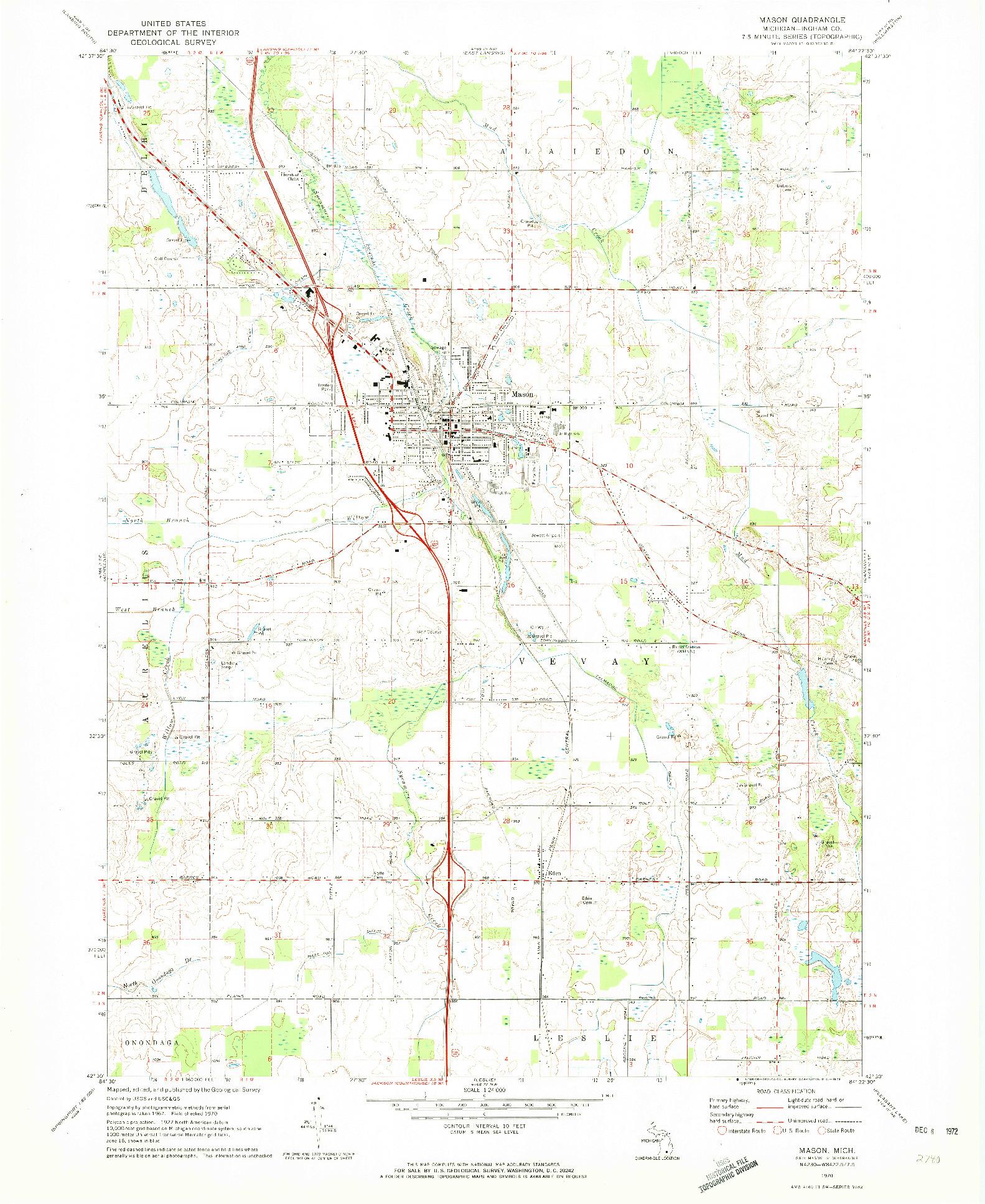 USGS 1:24000-SCALE QUADRANGLE FOR MASON, MI 1970