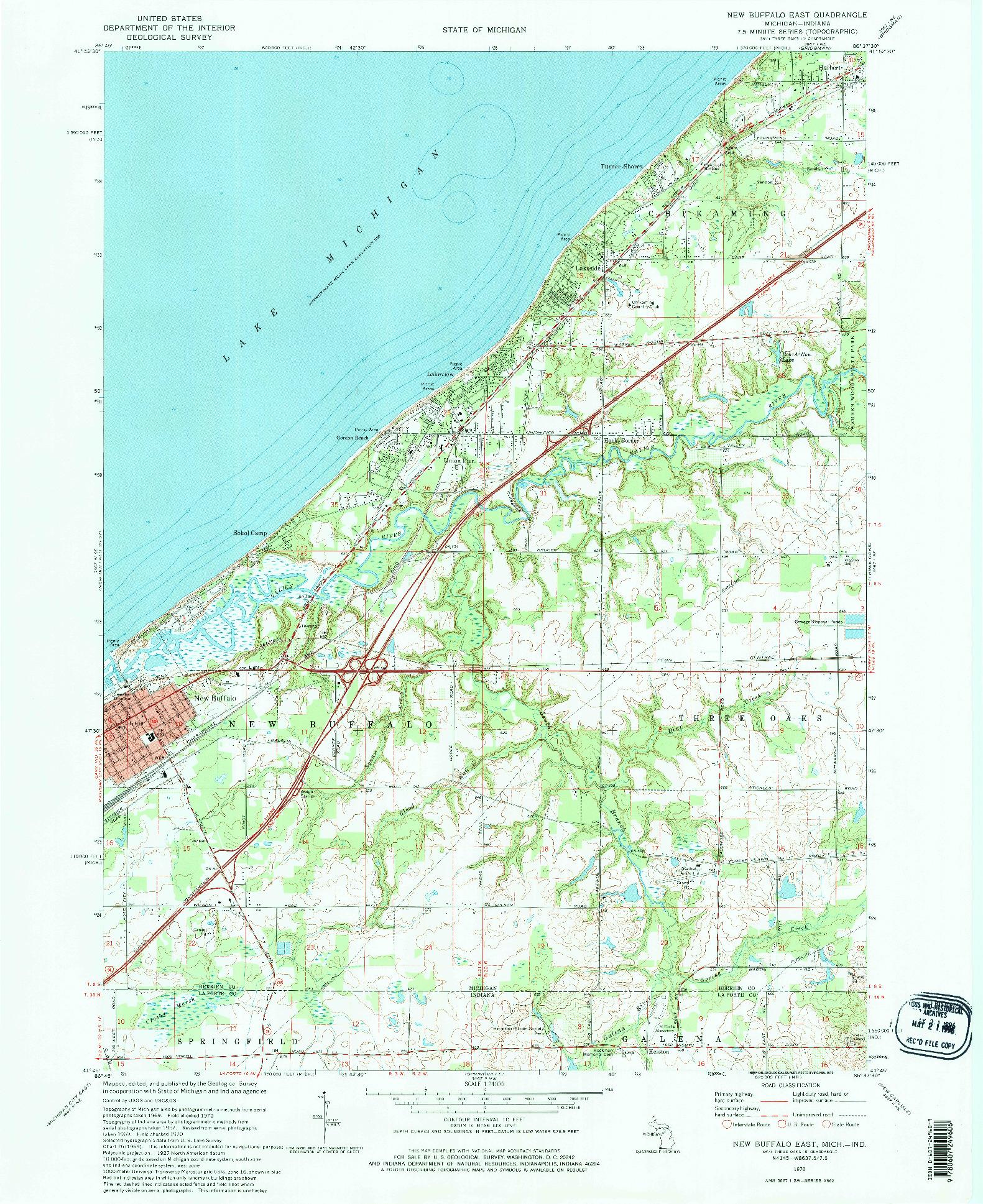USGS 1:24000-SCALE QUADRANGLE FOR NEW BUFFALO EAST, MI 1970