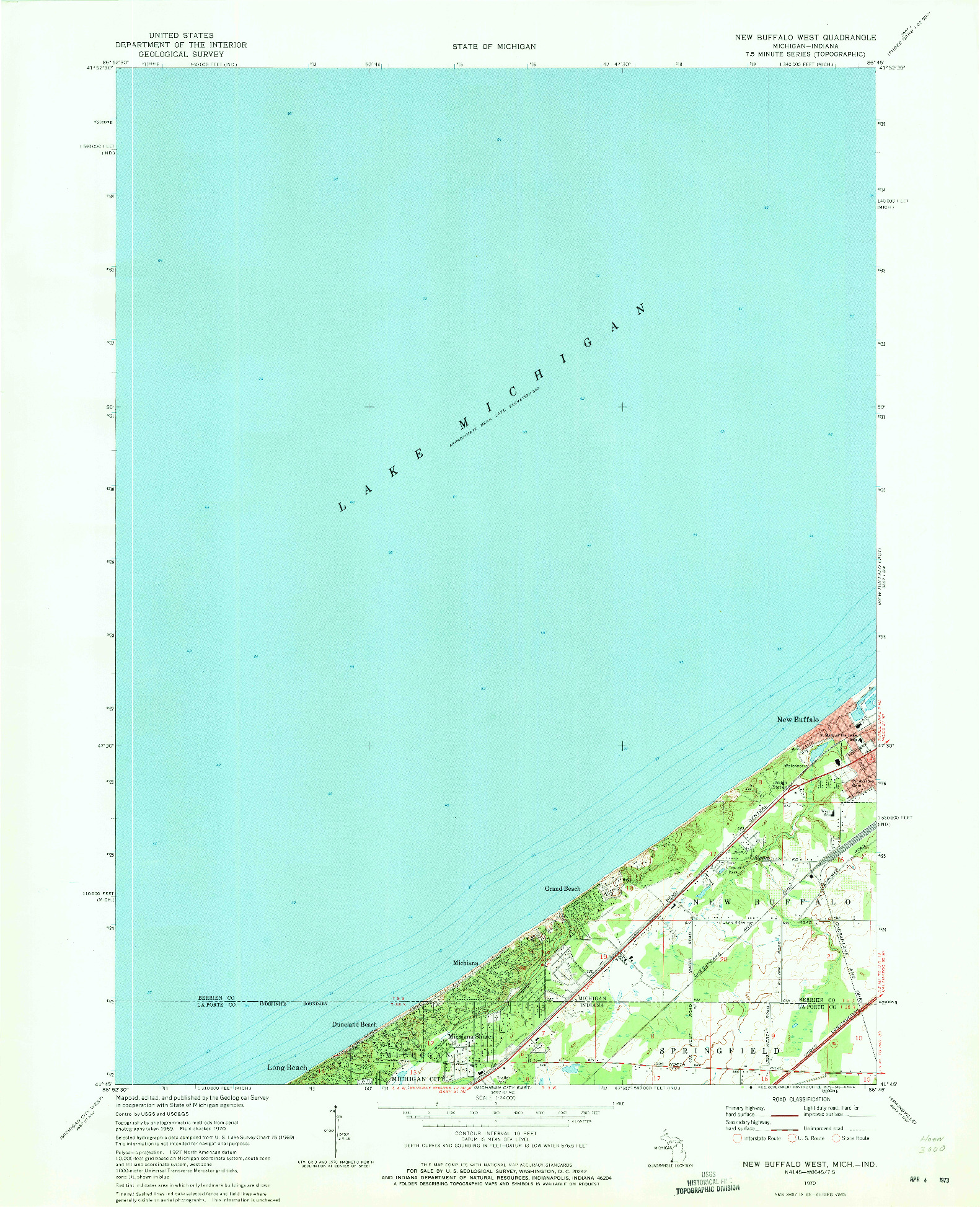 USGS 1:24000-SCALE QUADRANGLE FOR NEW BUFFALO WEST, MI 1970
