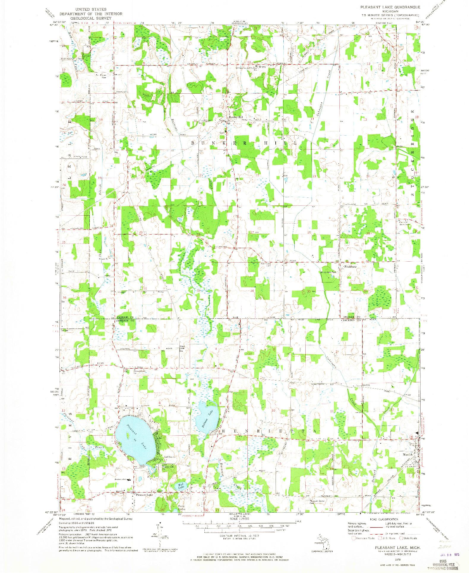 USGS 1:24000-SCALE QUADRANGLE FOR PLEASANT LAKE, MI 1970