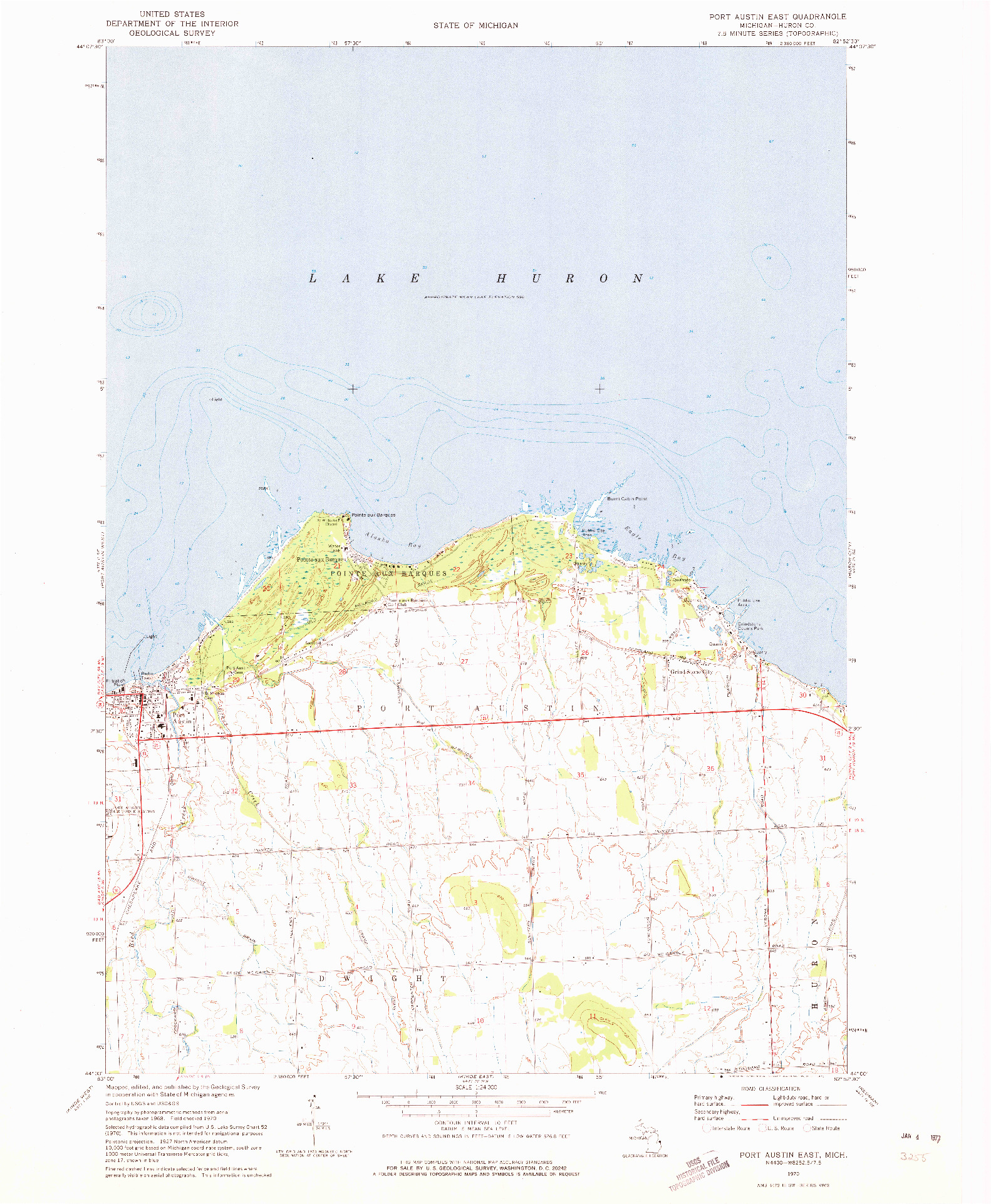 USGS 1:24000-SCALE QUADRANGLE FOR PORT AUSTIN EAST, MI 1970