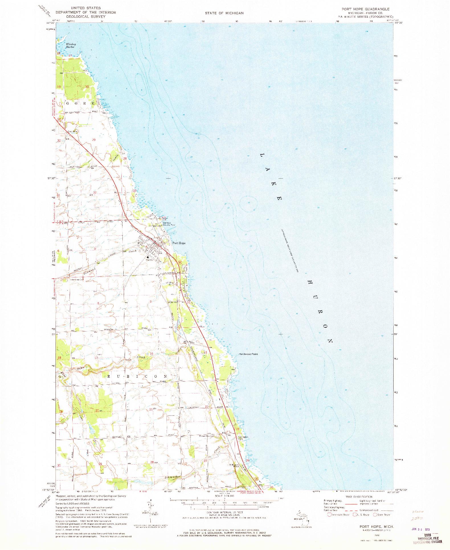 USGS 1:24000-SCALE QUADRANGLE FOR PORT HOPE, MI 1970