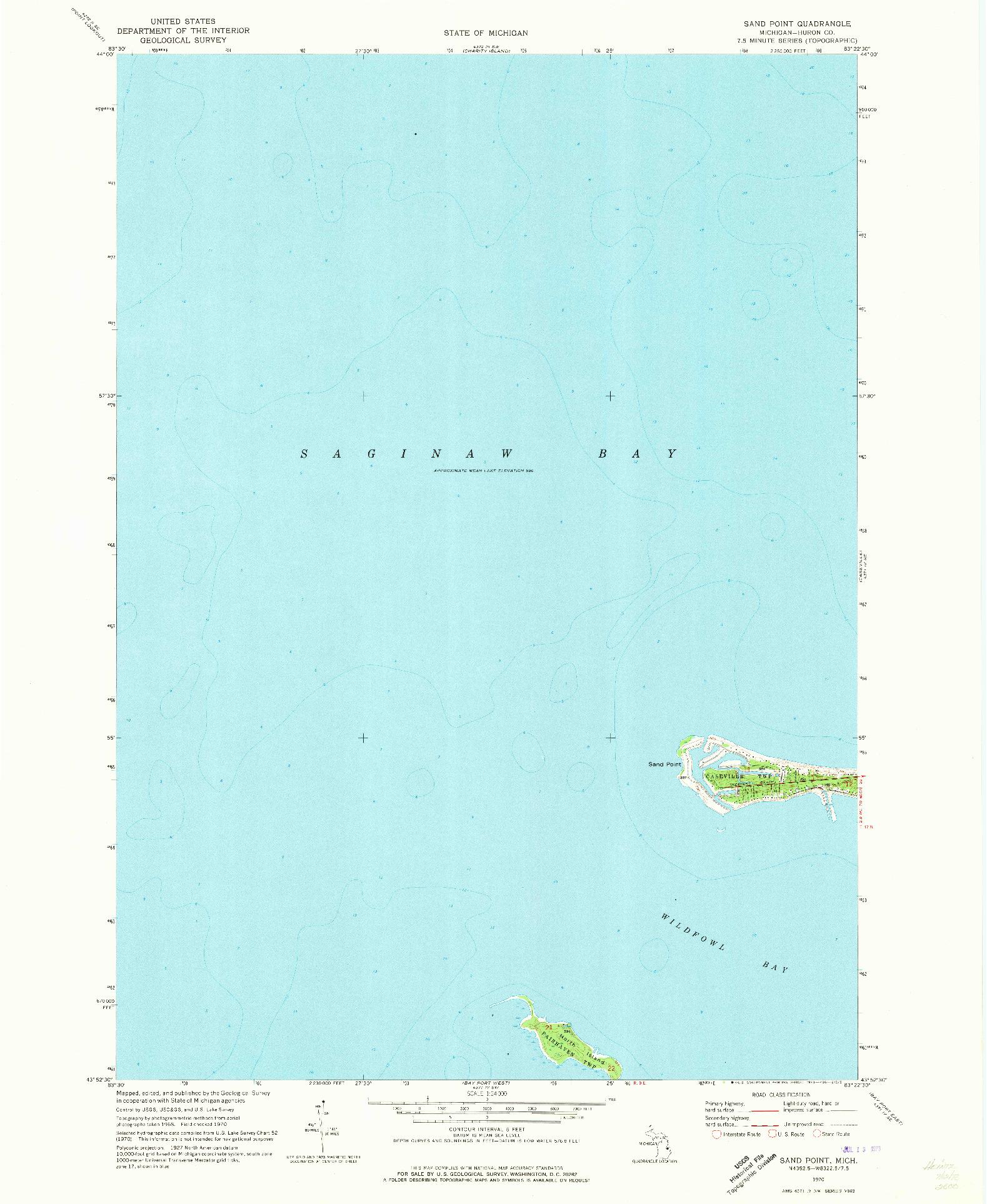 USGS 1:24000-SCALE QUADRANGLE FOR SAND POINT, MI 1970