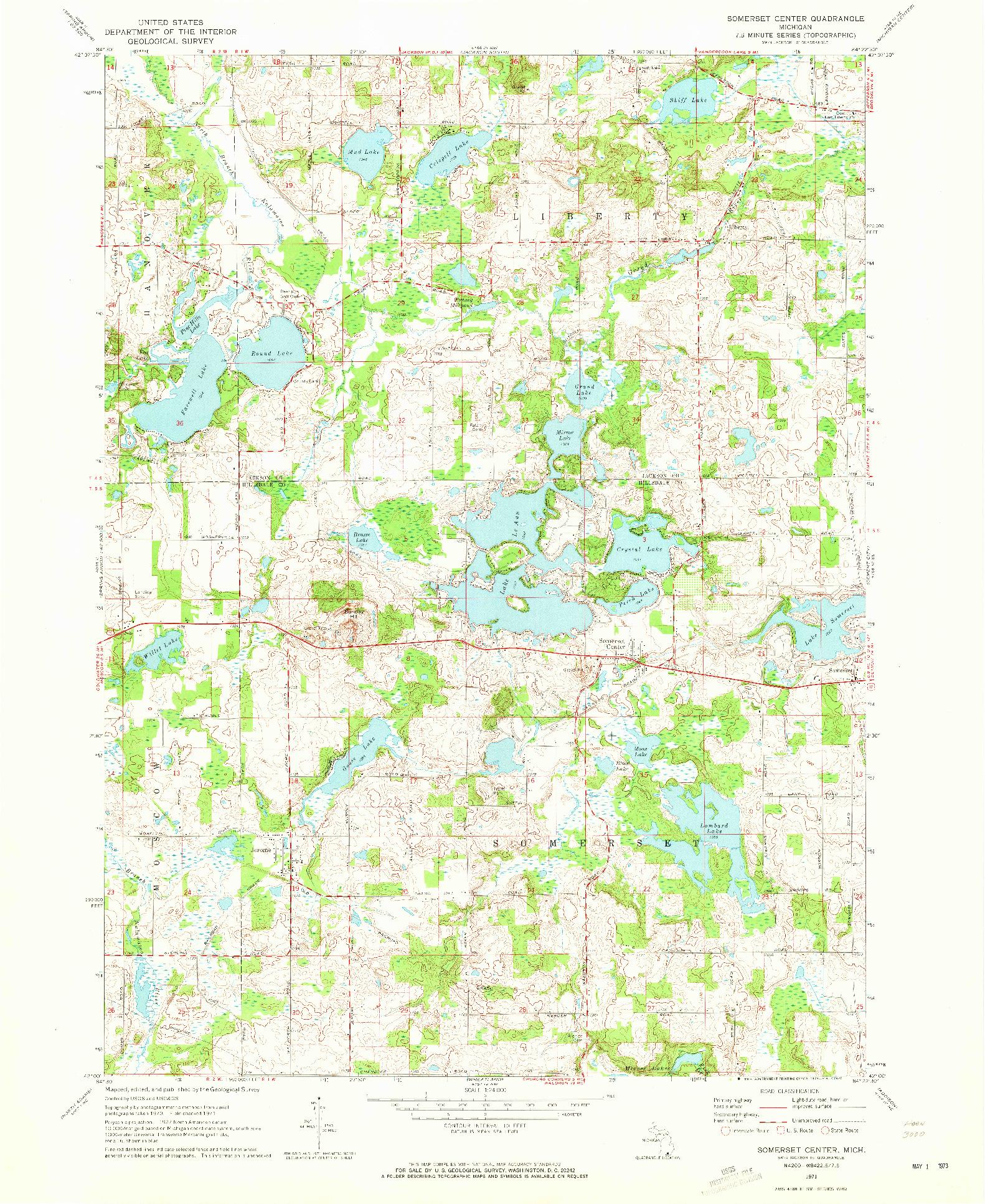 USGS 1:24000-SCALE QUADRANGLE FOR SOMERSET CENTER, MI 1971