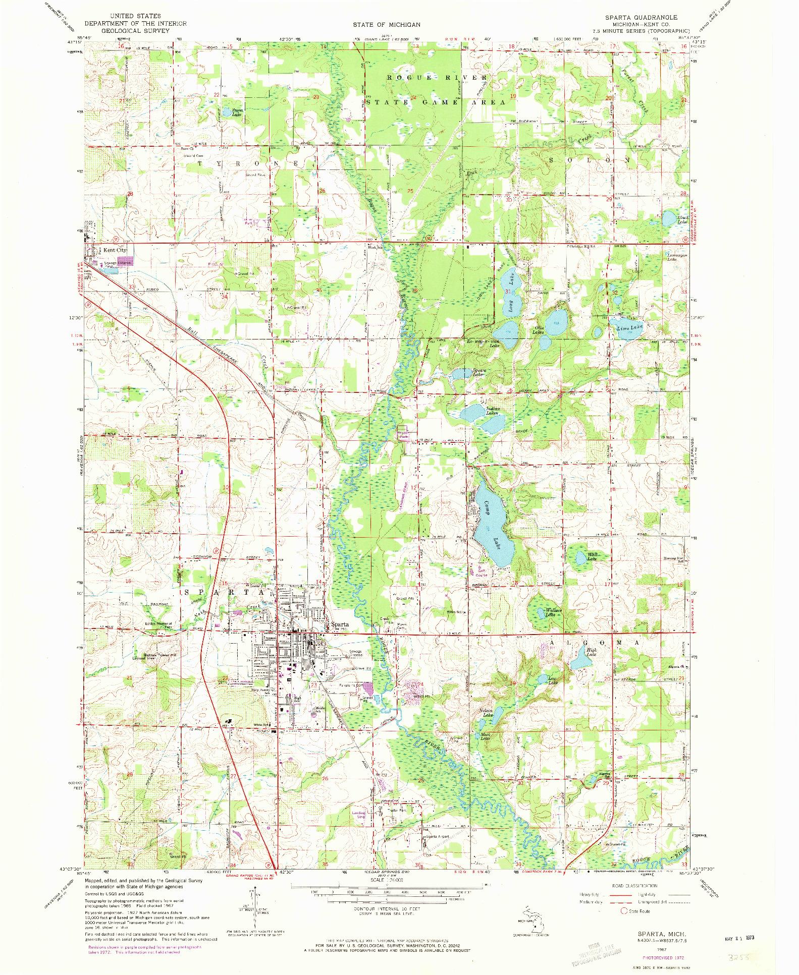 USGS 1:24000-SCALE QUADRANGLE FOR SPARTA, MI 1967