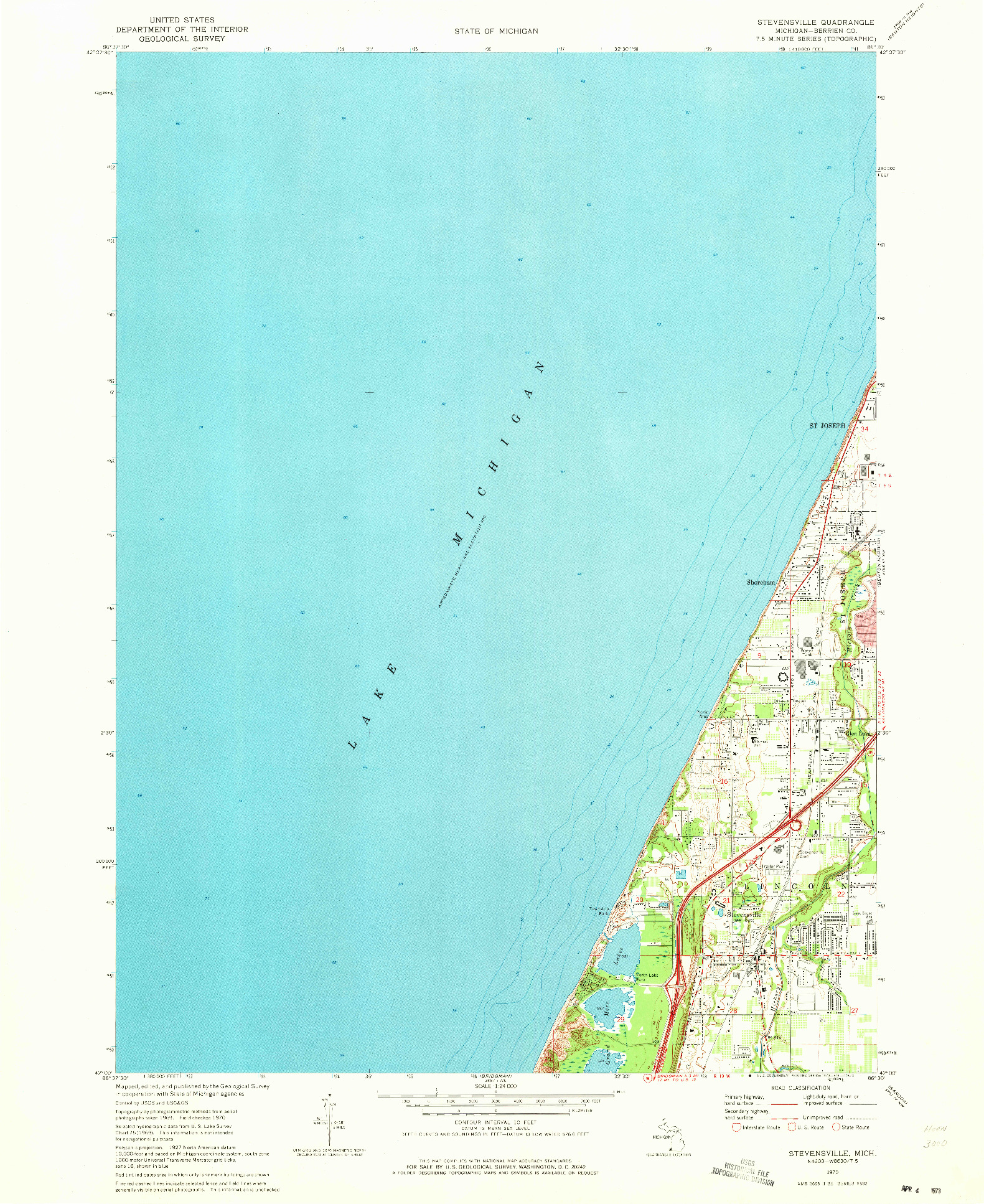 USGS 1:24000-SCALE QUADRANGLE FOR STEVENSVILLE, MI 1970