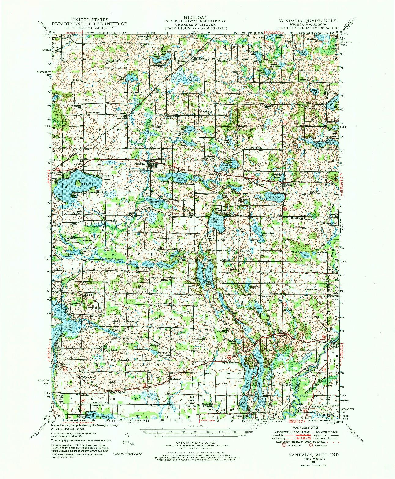 USGS 1:62500-SCALE QUADRANGLE FOR VANDALIA, MI 1948