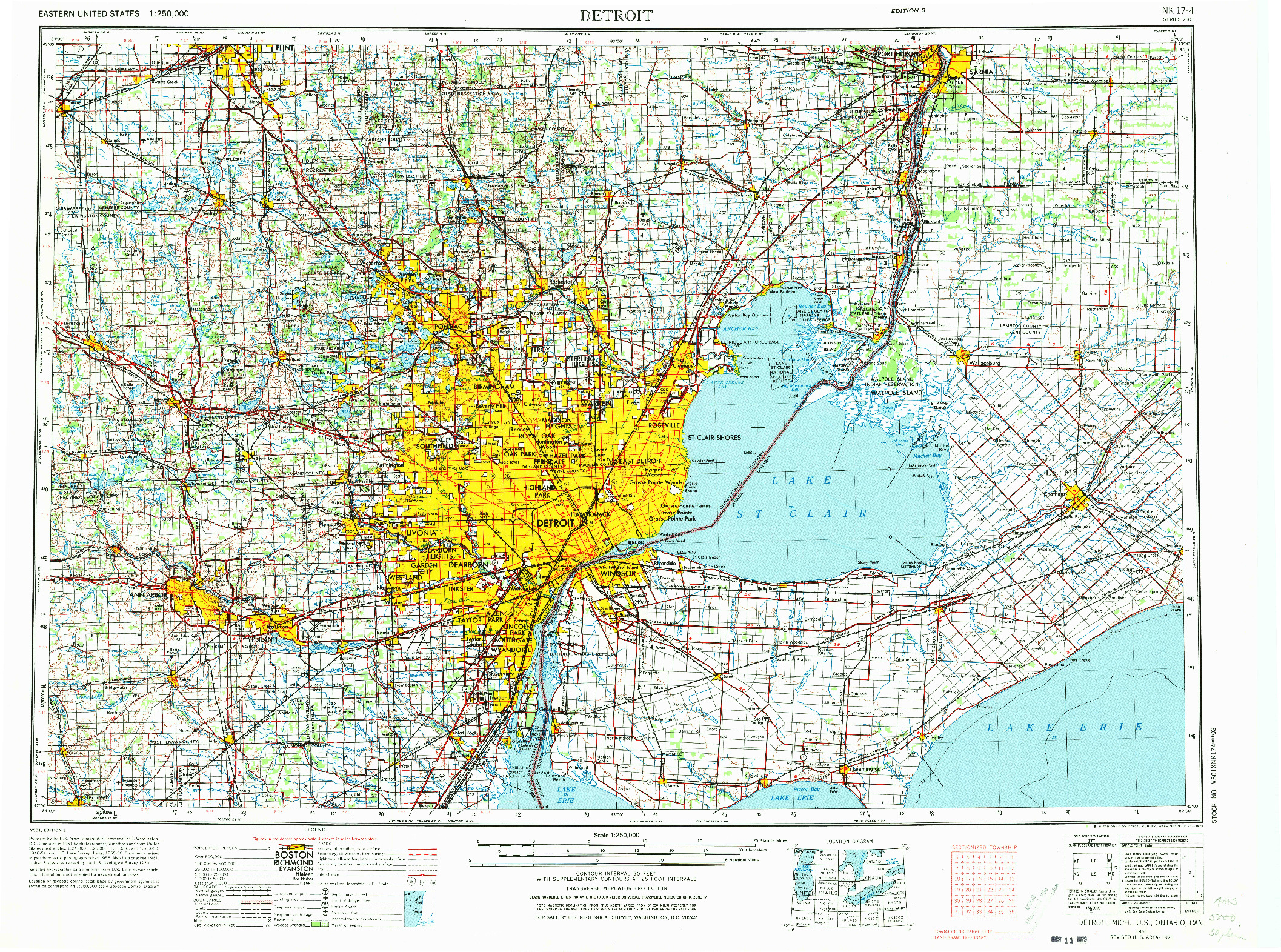 USGS 1:250000-SCALE QUADRANGLE FOR DETROIT, MI 1961