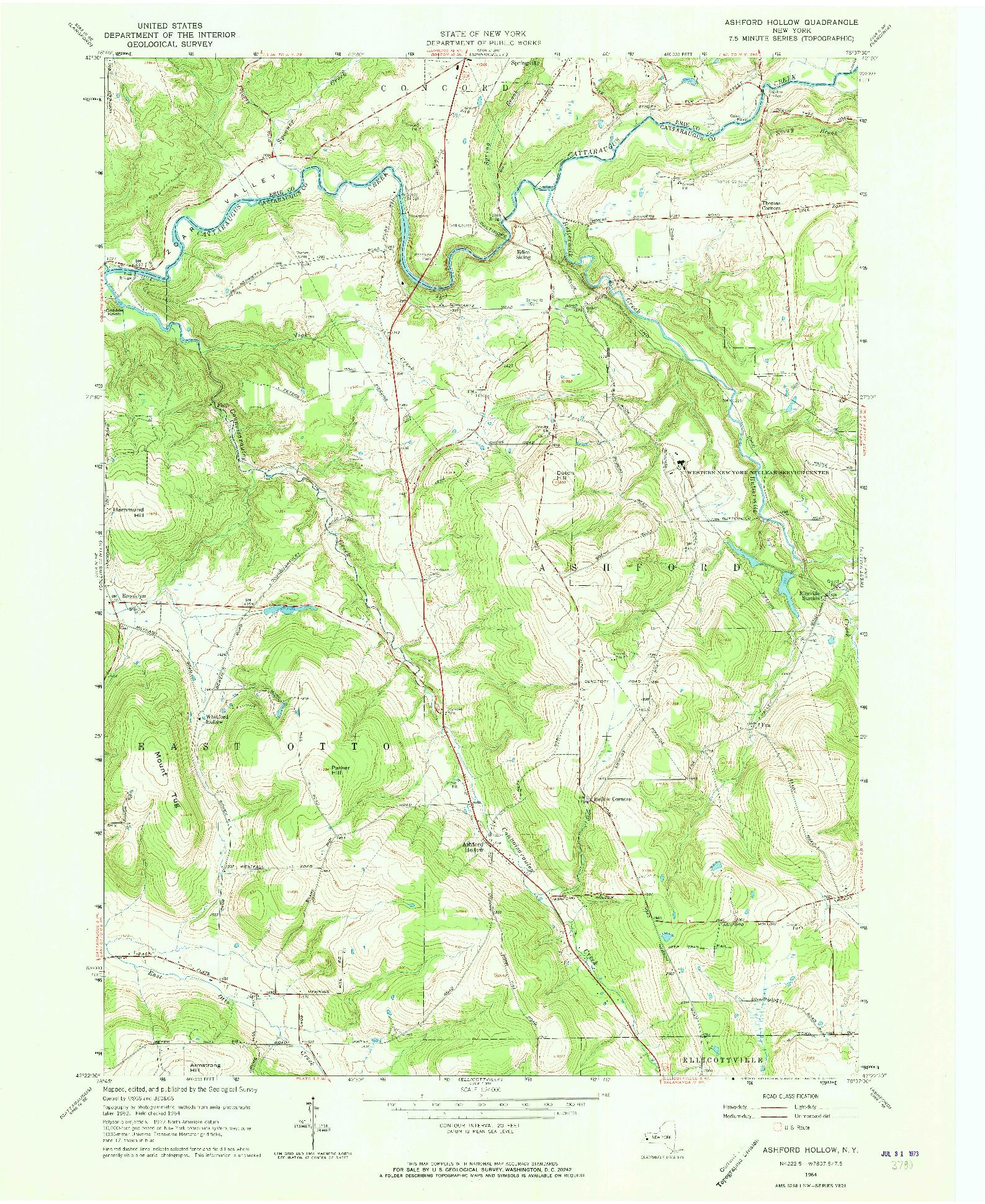 USGS 1:24000-SCALE QUADRANGLE FOR ASHFORD HOLLOW, NY 1964