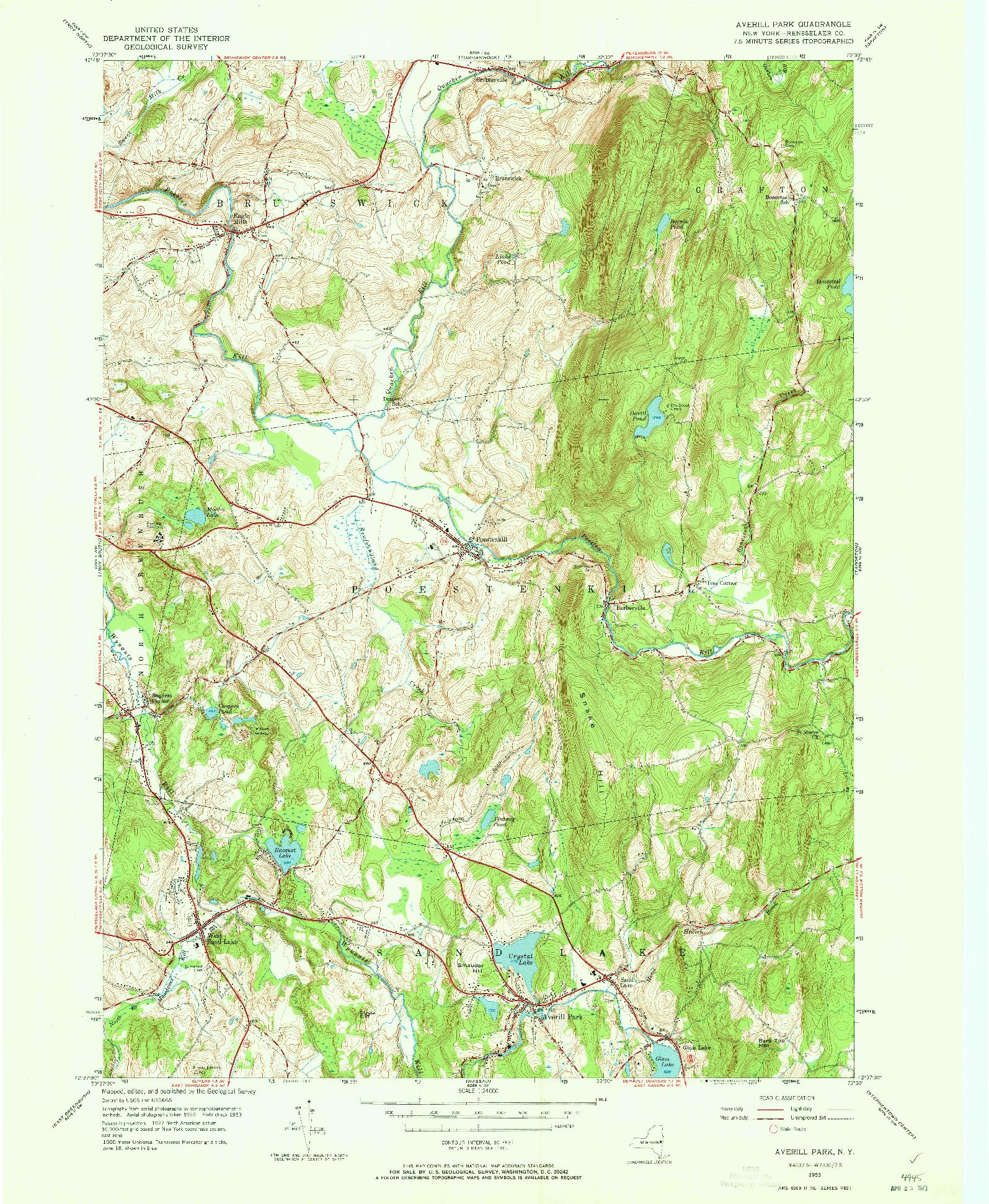 USGS 1:24000-SCALE QUADRANGLE FOR AVERILL PARK, NY 1953