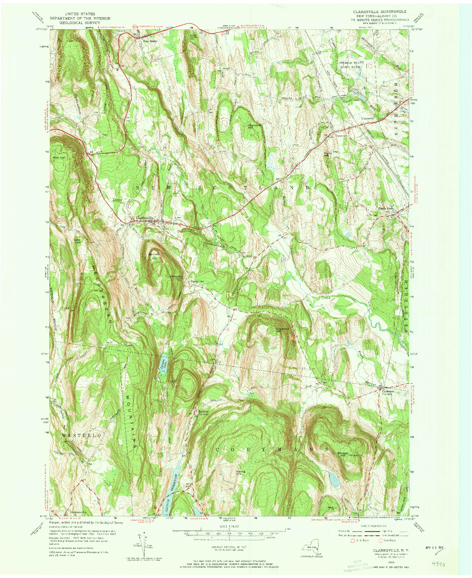 USGS 1:24000-SCALE QUADRANGLE FOR CLARKSVILLE, NY 1953