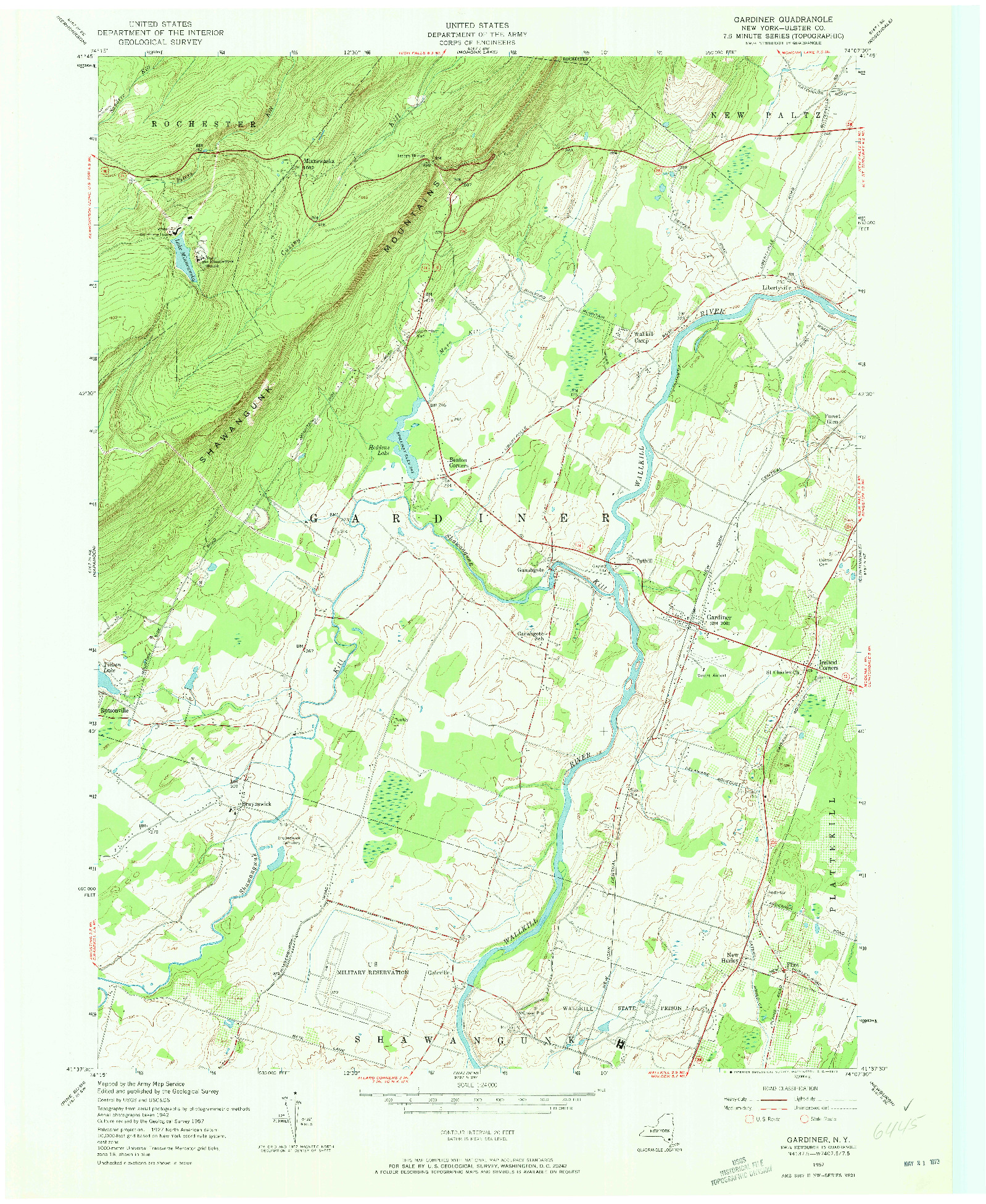 USGS 1:24000-SCALE QUADRANGLE FOR GARDINER, NY 1957