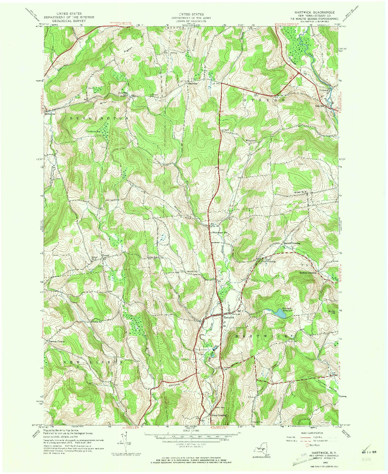 USGS 1:24000-SCALE QUADRANGLE FOR HARTWICK, NY 1943
