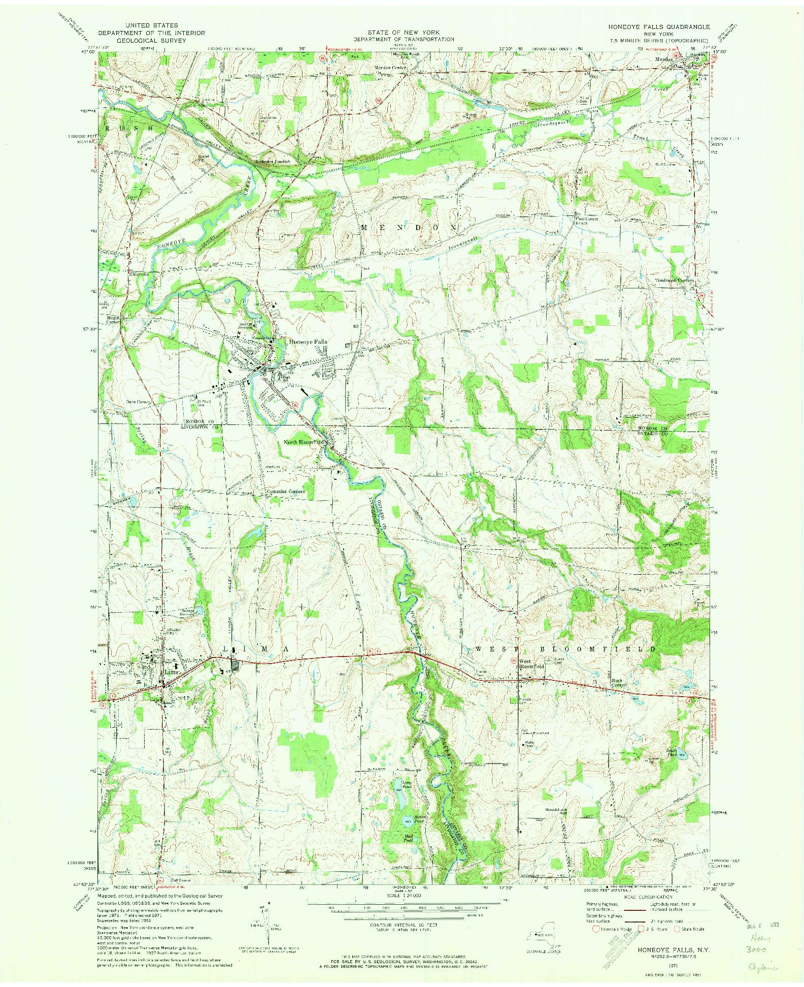 USGS 1:24000-SCALE QUADRANGLE FOR HONEOYE FALLS, NY 1971