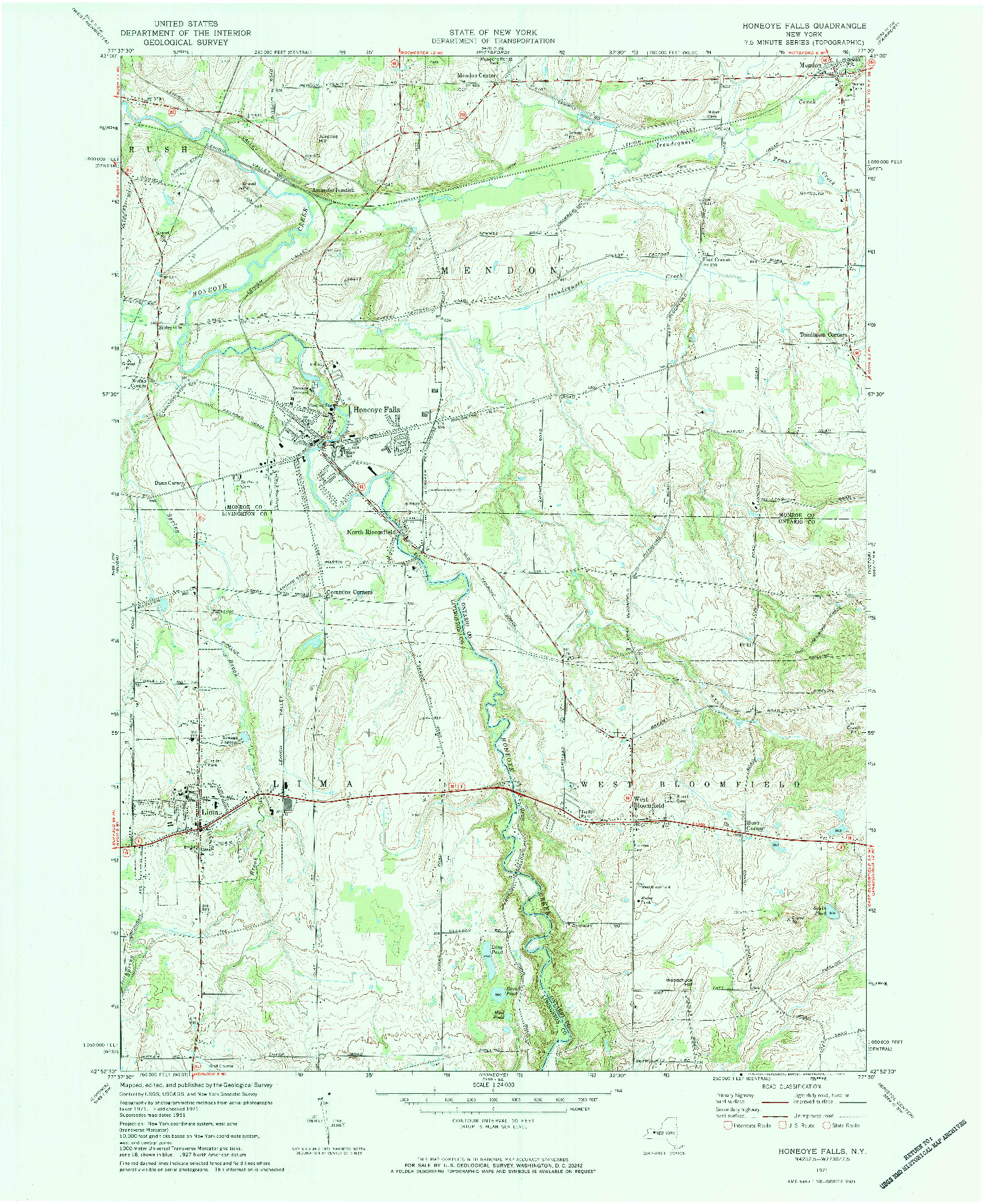 USGS 1:24000-SCALE QUADRANGLE FOR HONEOYE FALLS, NY 1971
