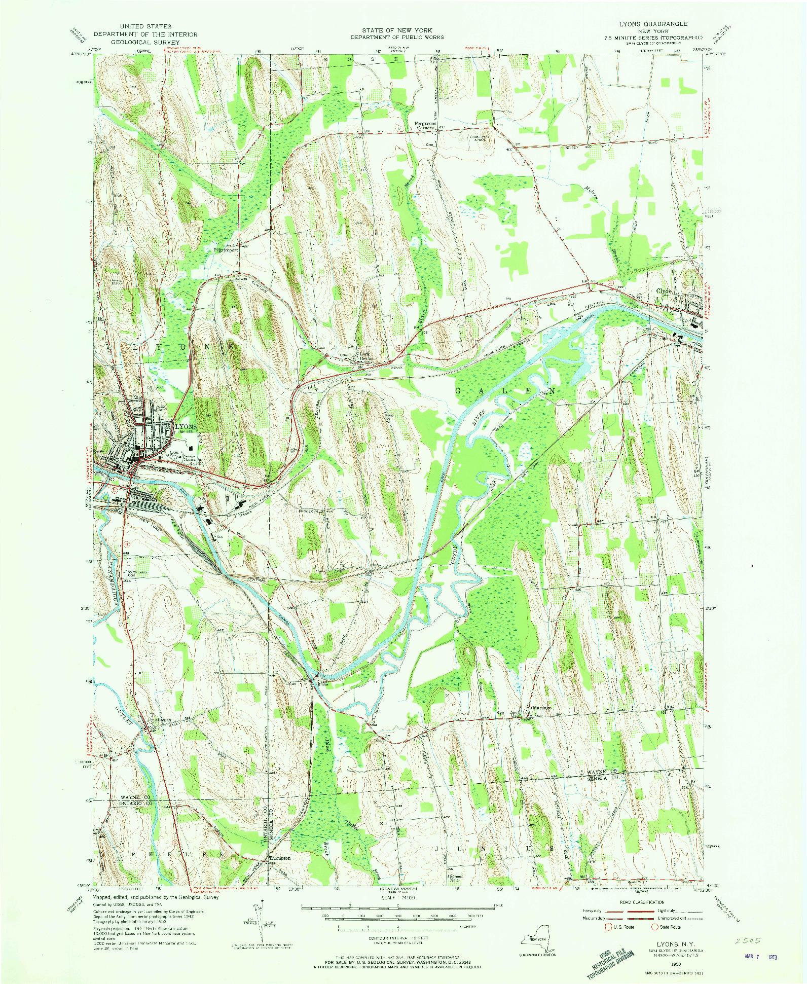 USGS 1:24000-SCALE QUADRANGLE FOR LYONS, NY 1953