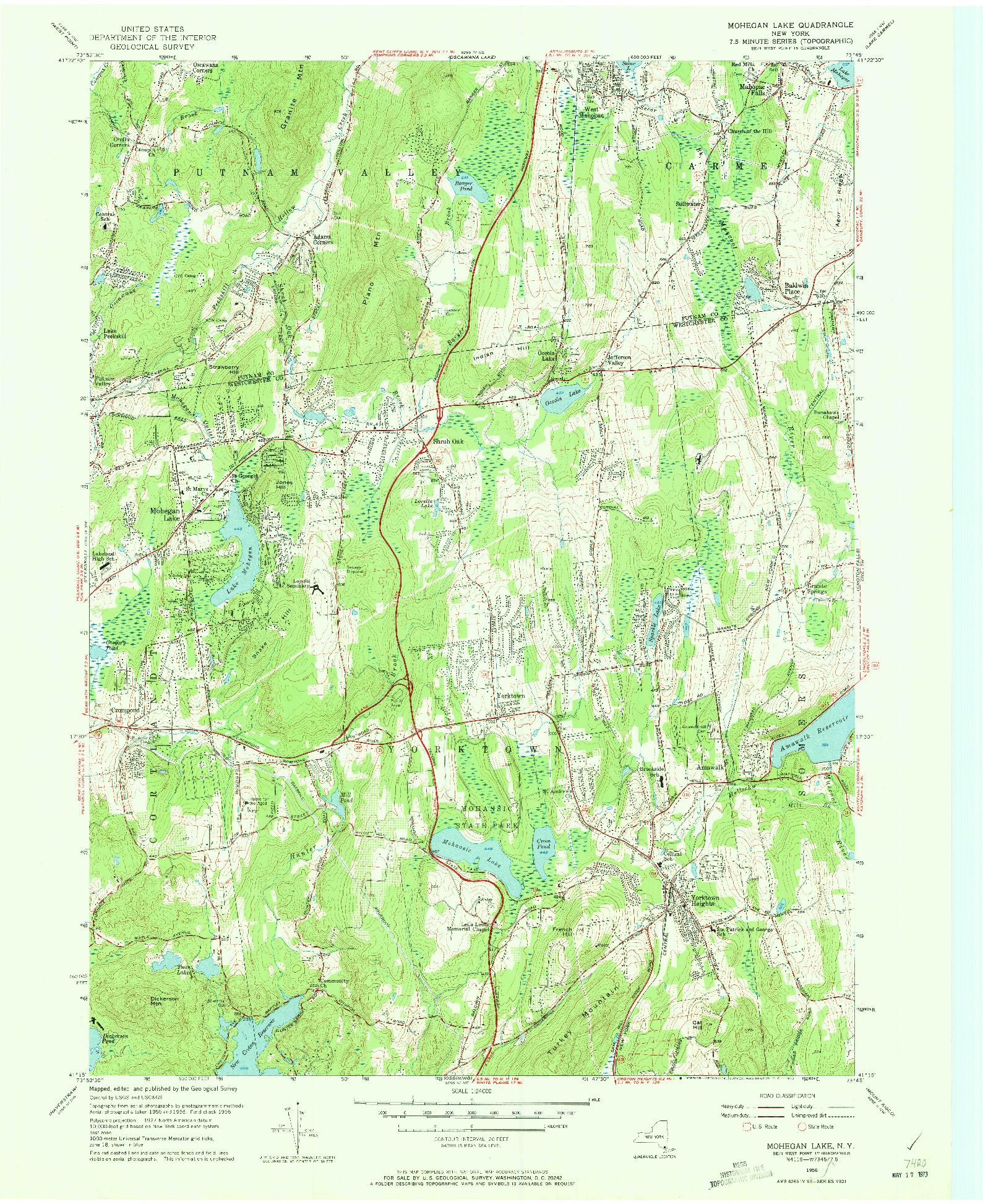 USGS 1:24000-SCALE QUADRANGLE FOR MOHEGAN LAKE, NY 1956