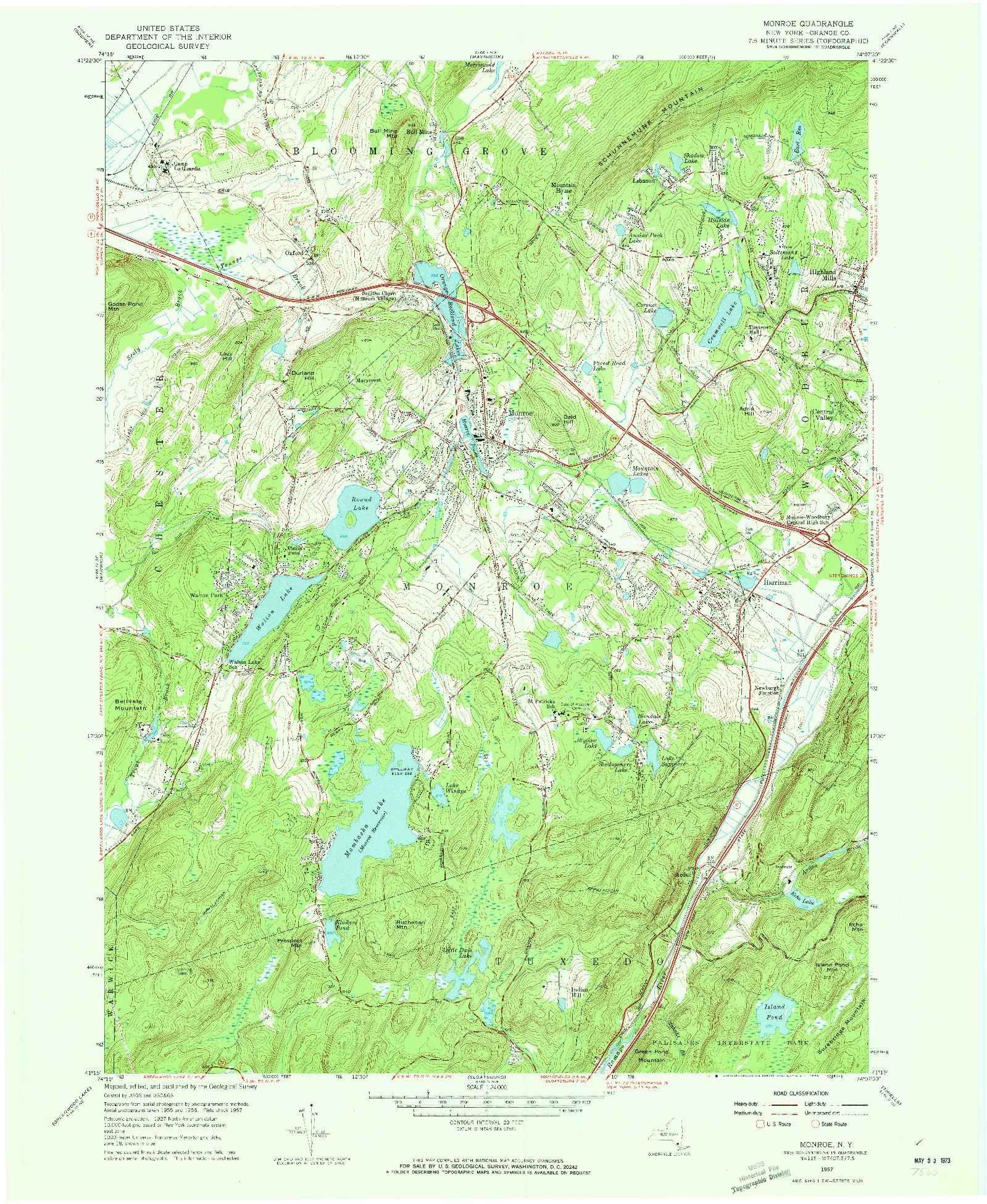USGS 1:24000-SCALE QUADRANGLE FOR MONROE, NY 1957