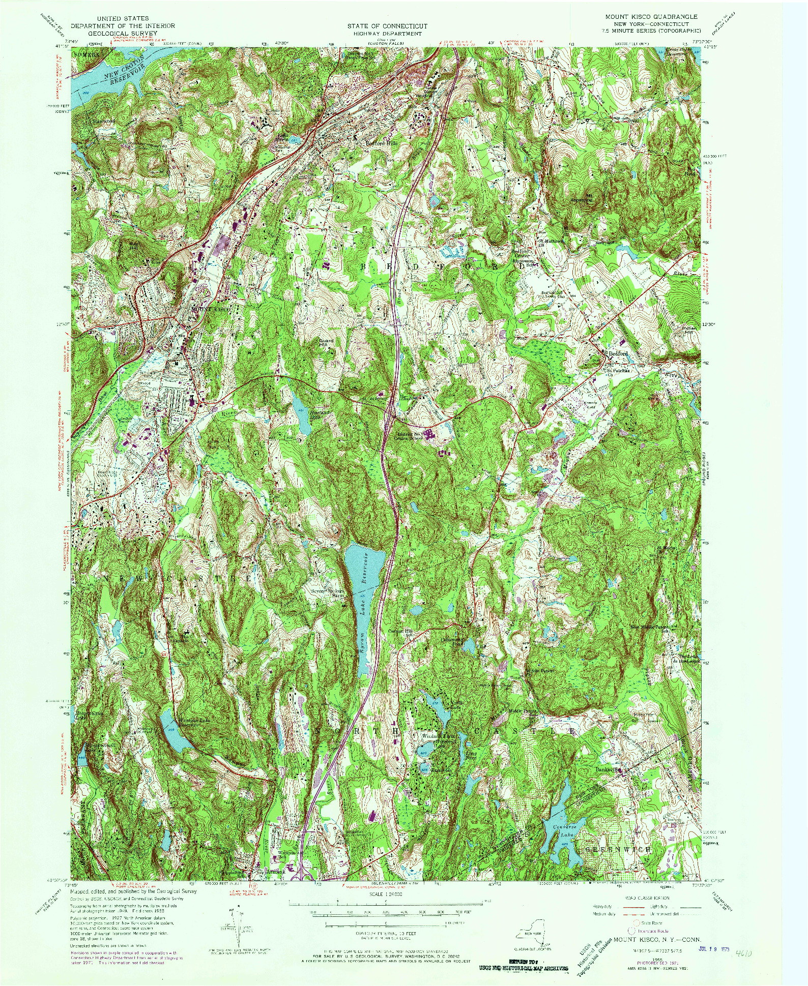 USGS 1:24000-SCALE QUADRANGLE FOR MOUNT KISCO, NY 1955