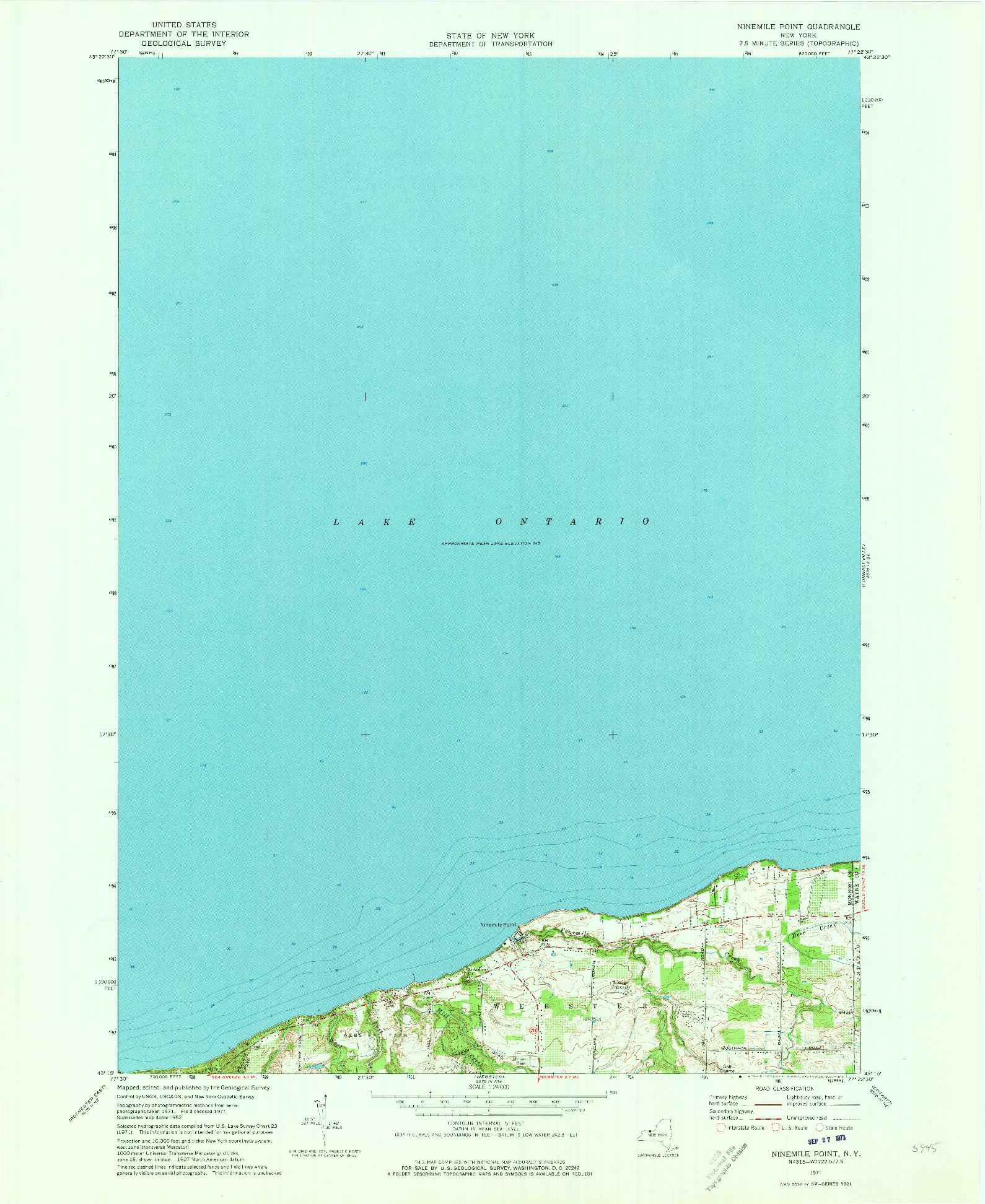 USGS 1:24000-SCALE QUADRANGLE FOR NINEMILE POINT, NY 1971