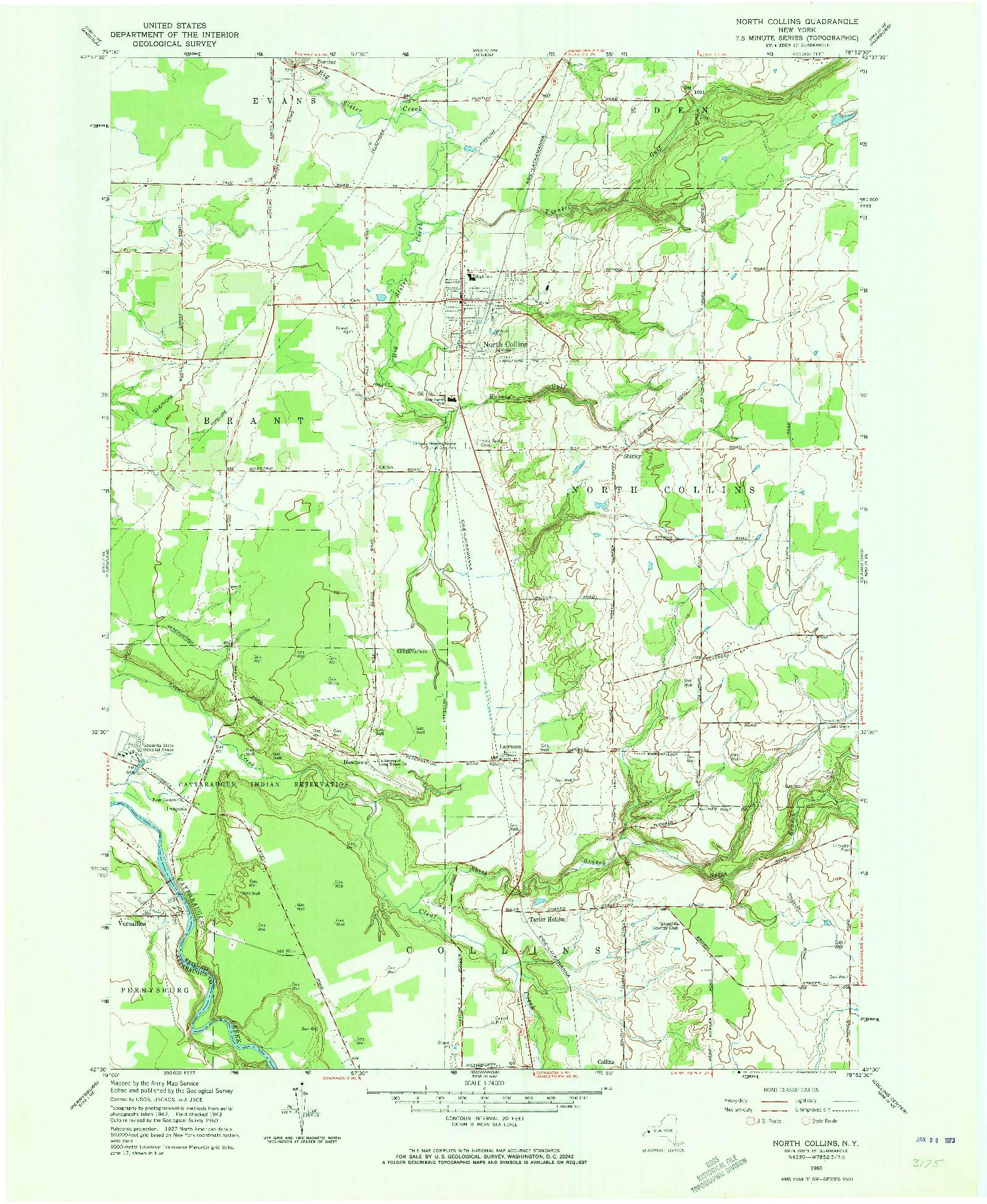 USGS 1:24000-SCALE QUADRANGLE FOR NORTH COLLINS, NY 1960