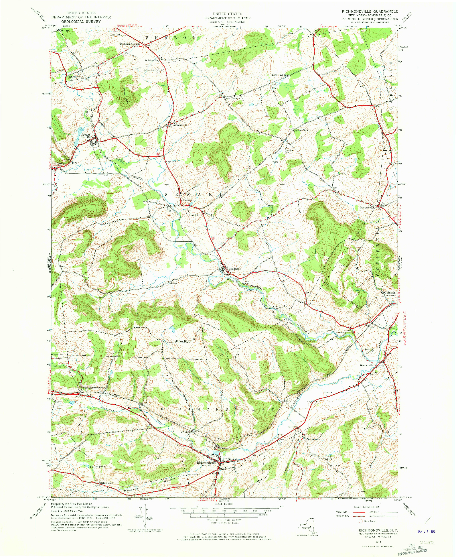 USGS 1:24000-SCALE QUADRANGLE FOR RICHMONDVILLE, NY 1944
