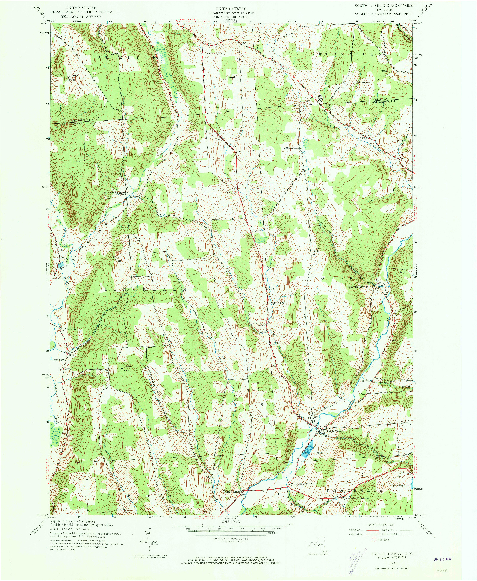 USGS 1:24000-SCALE QUADRANGLE FOR SOUTH OSTELIC, NY 1943