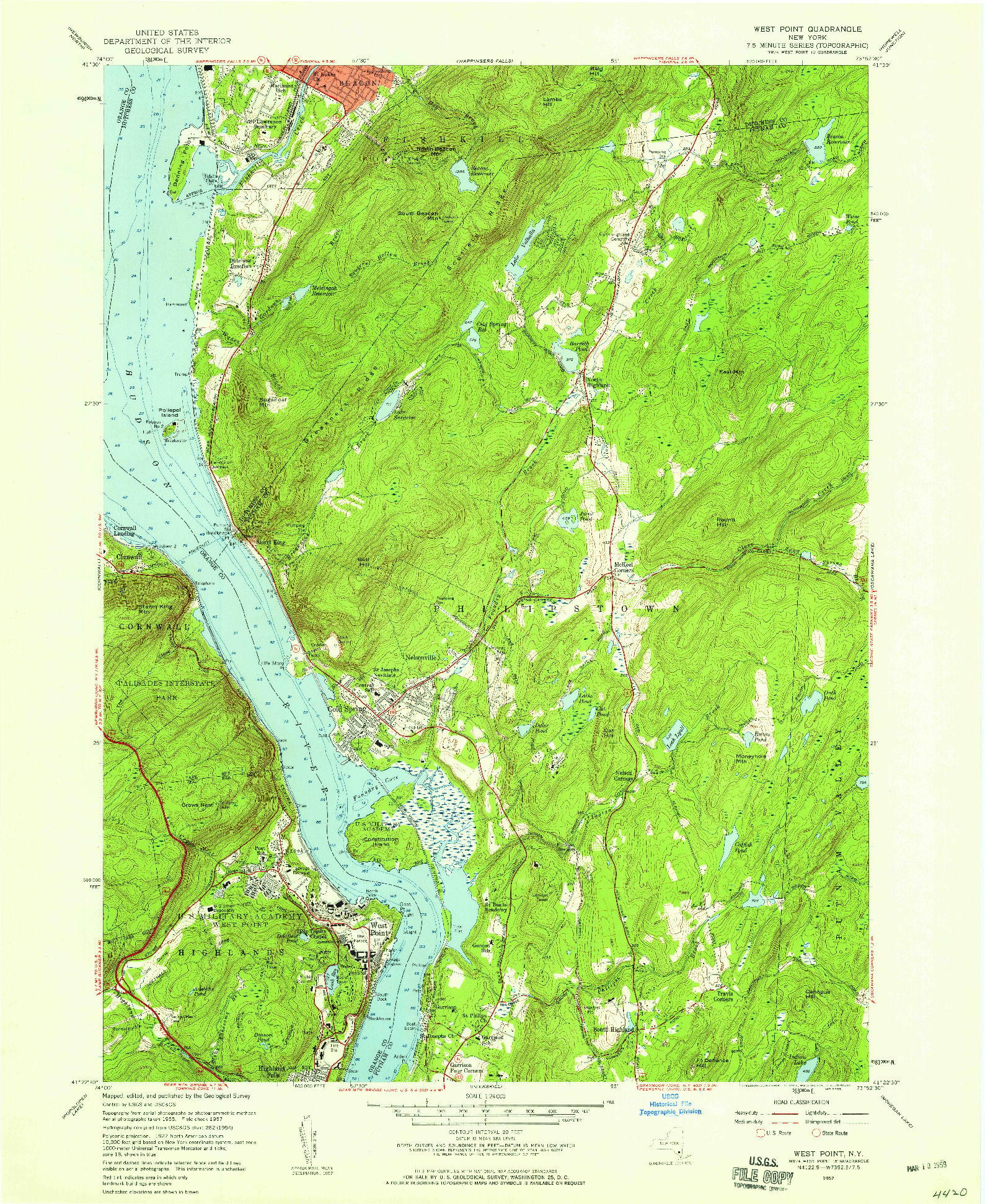 USGS 1:24000-SCALE QUADRANGLE FOR WEST POINT, NY 1957