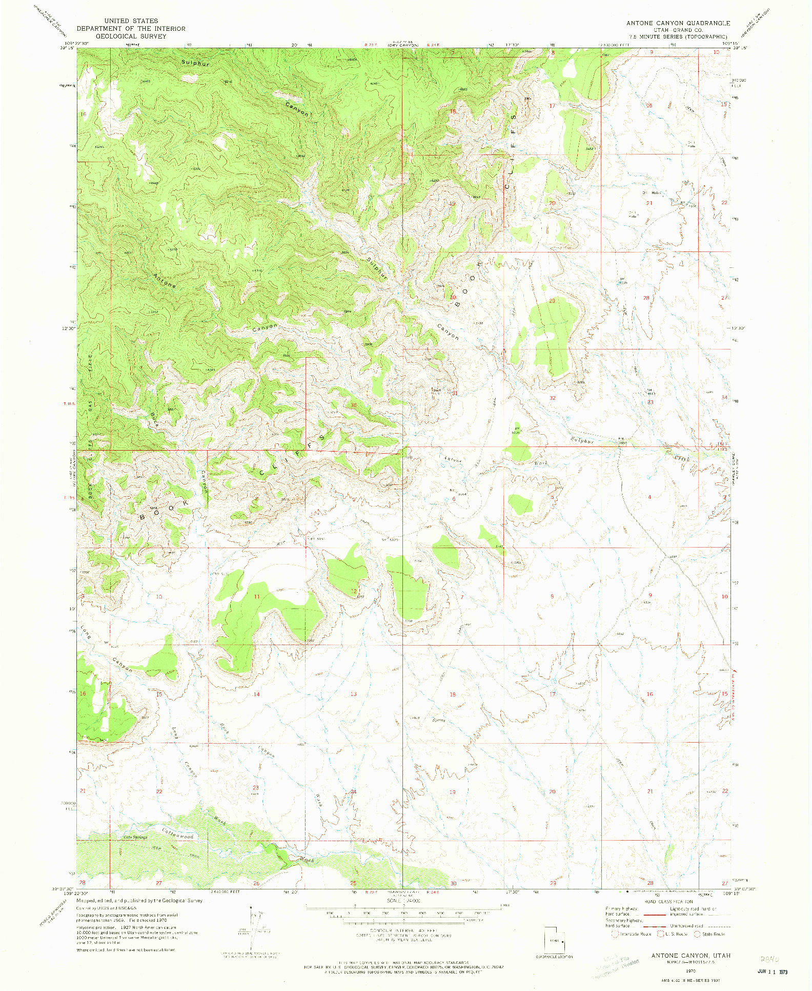 USGS 1:24000-SCALE QUADRANGLE FOR ANTONE CANYON, UT 1970