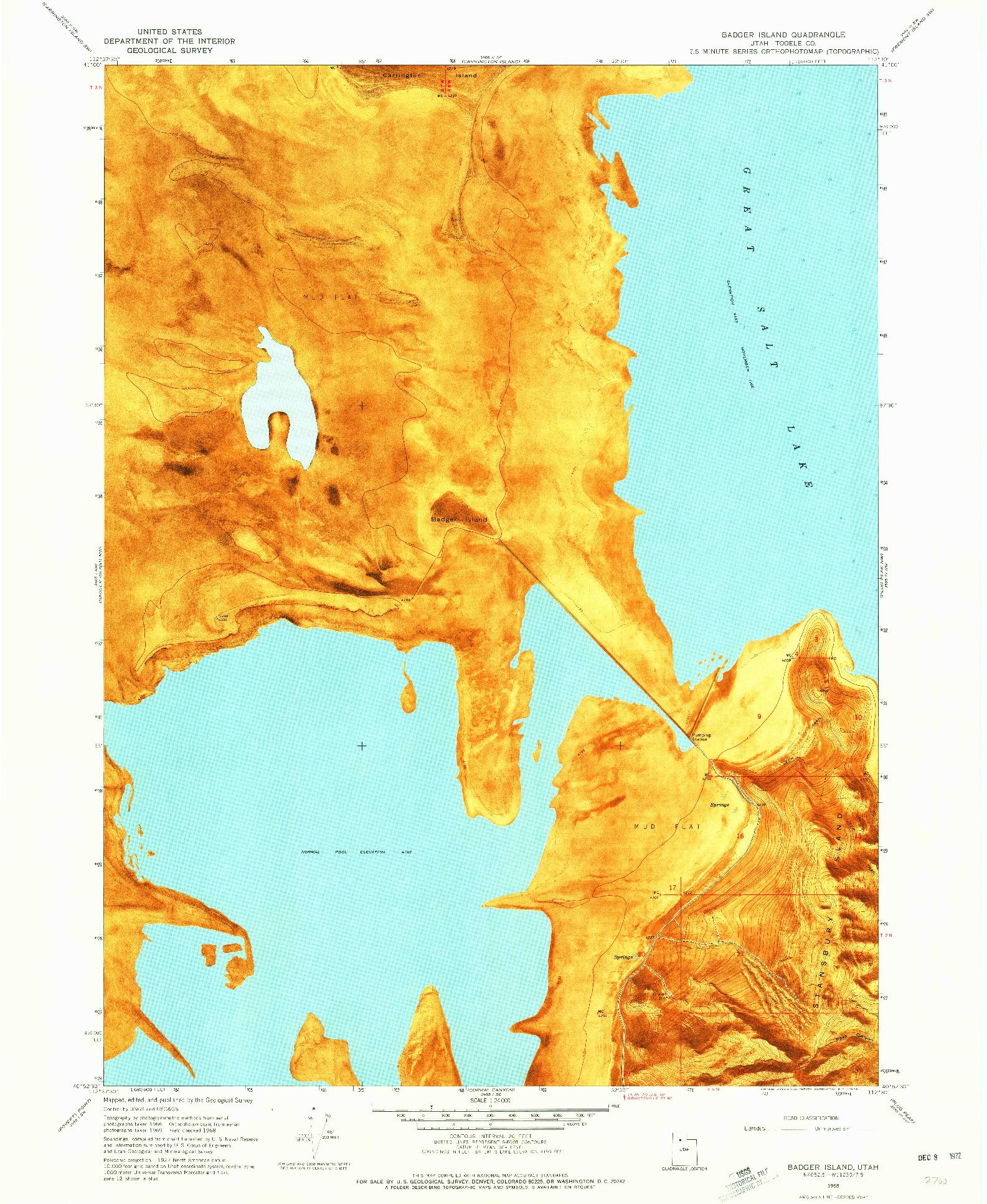 USGS 1:24000-SCALE QUADRANGLE FOR BADGER ISLAND, UT 1968