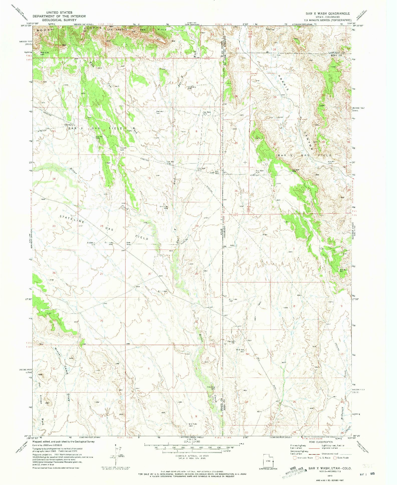 USGS 1:24000-SCALE QUADRANGLE FOR BAR X WASH, UT 1970