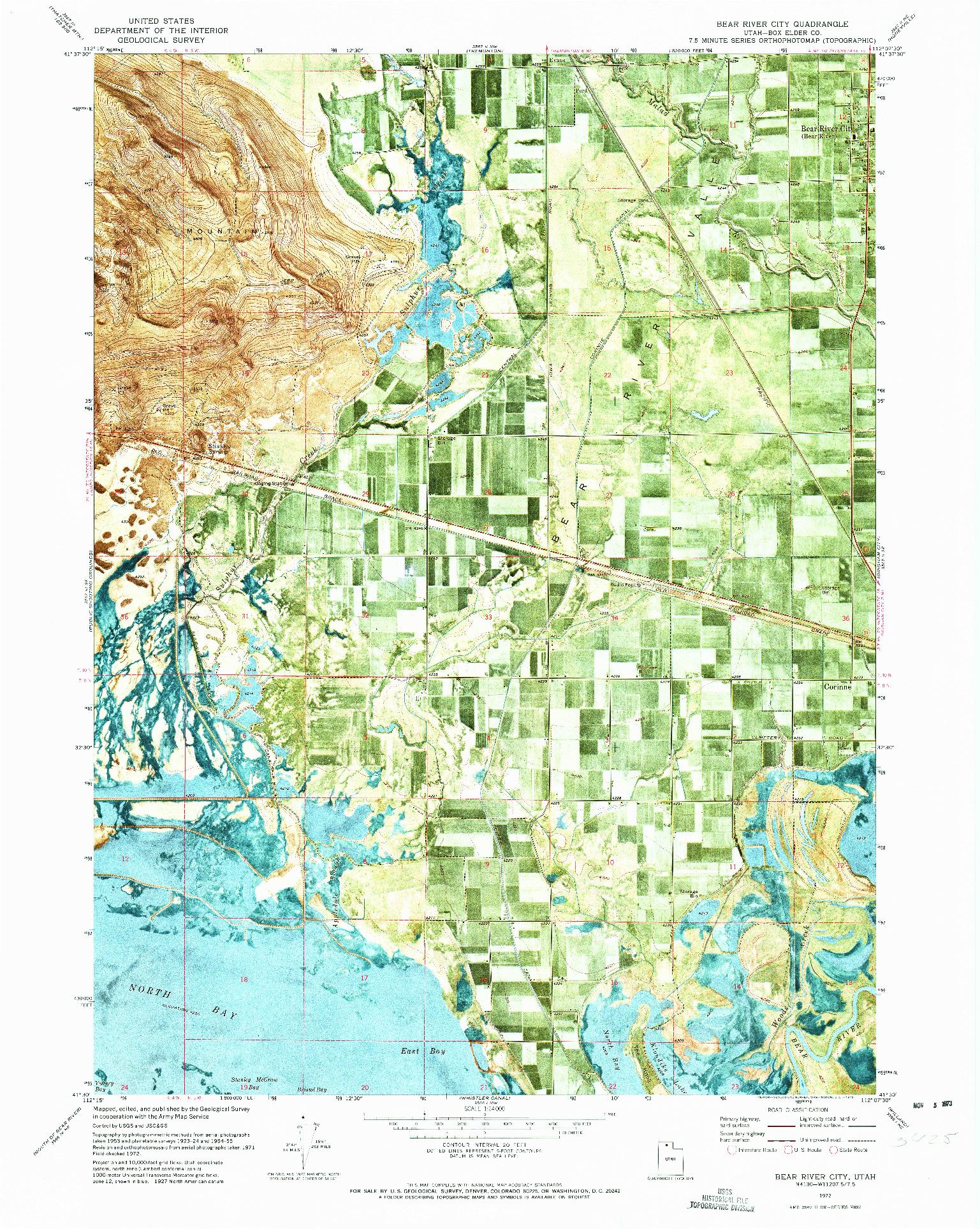 USGS 1:24000-SCALE QUADRANGLE FOR BEAR RIVER CITY, UT 1972