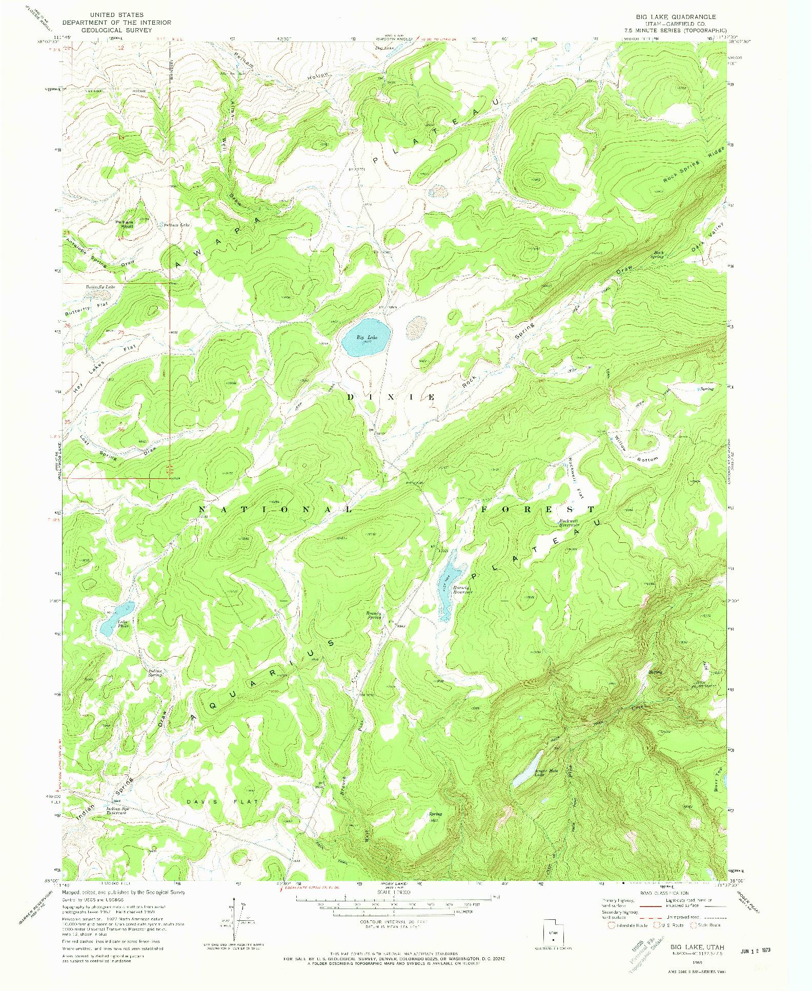 USGS 1:24000-SCALE QUADRANGLE FOR BIG LAKE, UT 1969