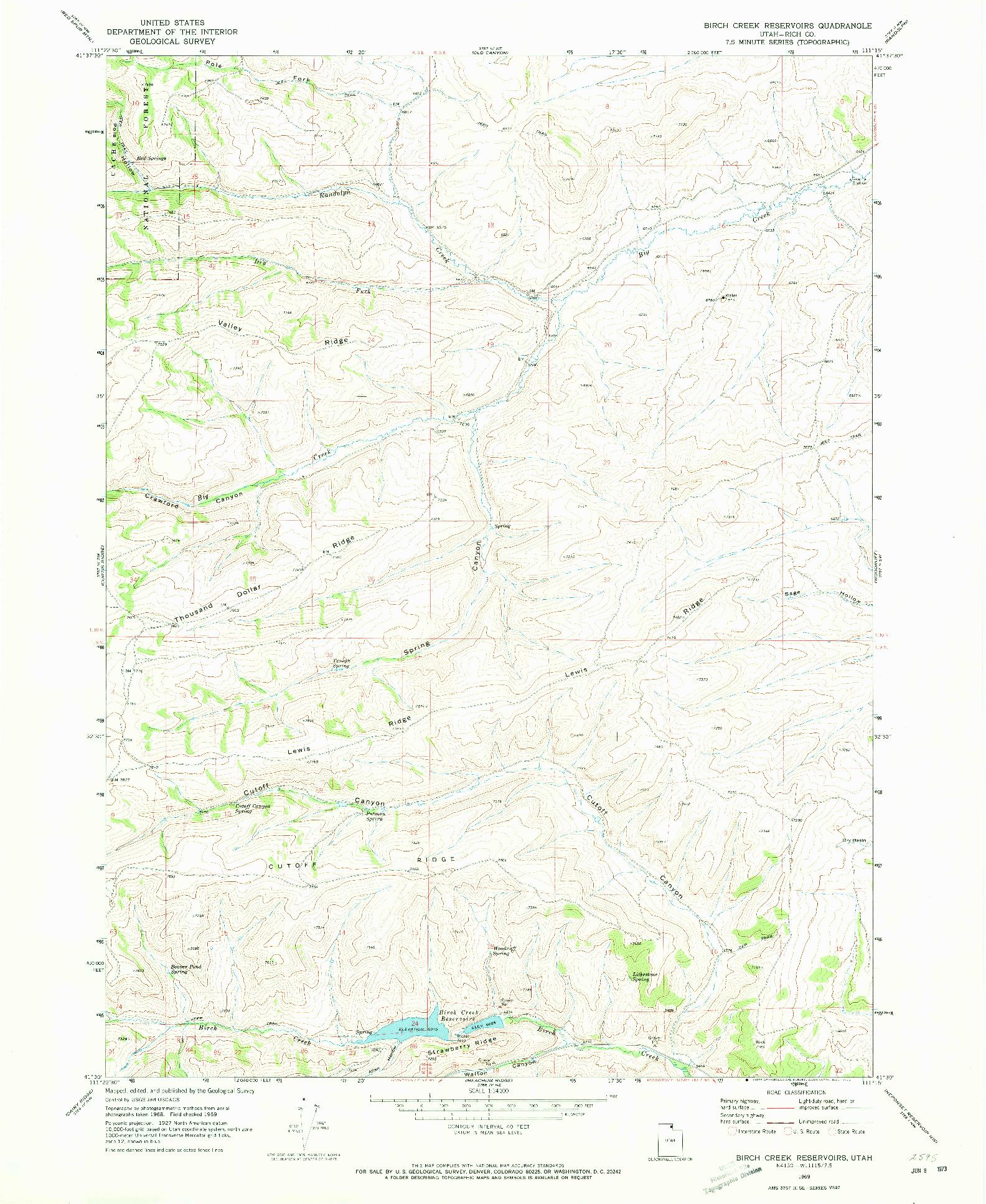 USGS 1:24000-SCALE QUADRANGLE FOR BIRCH CREEK RESERVOIRS, UT 1969