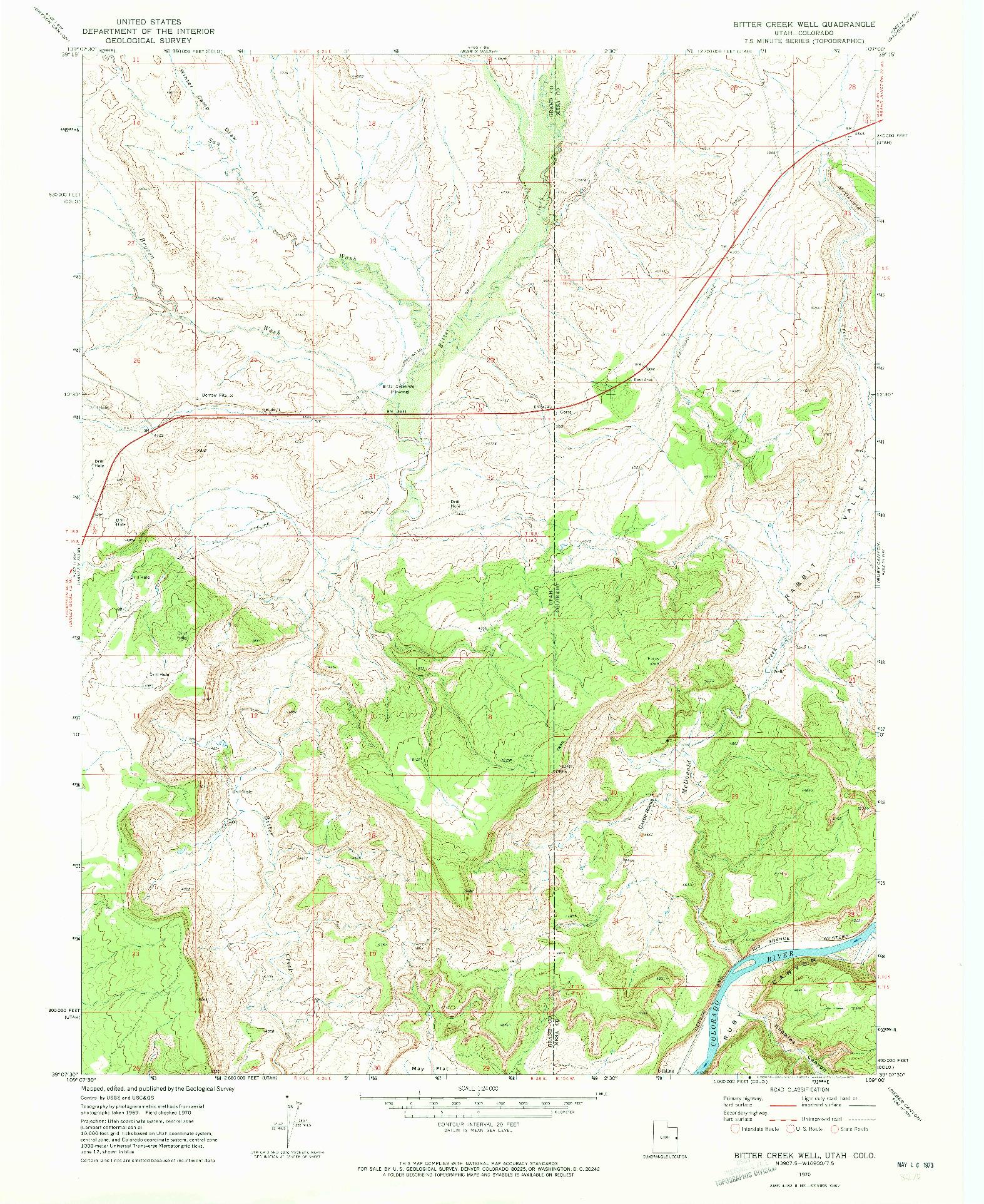 USGS 1:24000-SCALE QUADRANGLE FOR BITTER CREEK WELL, UT 1970