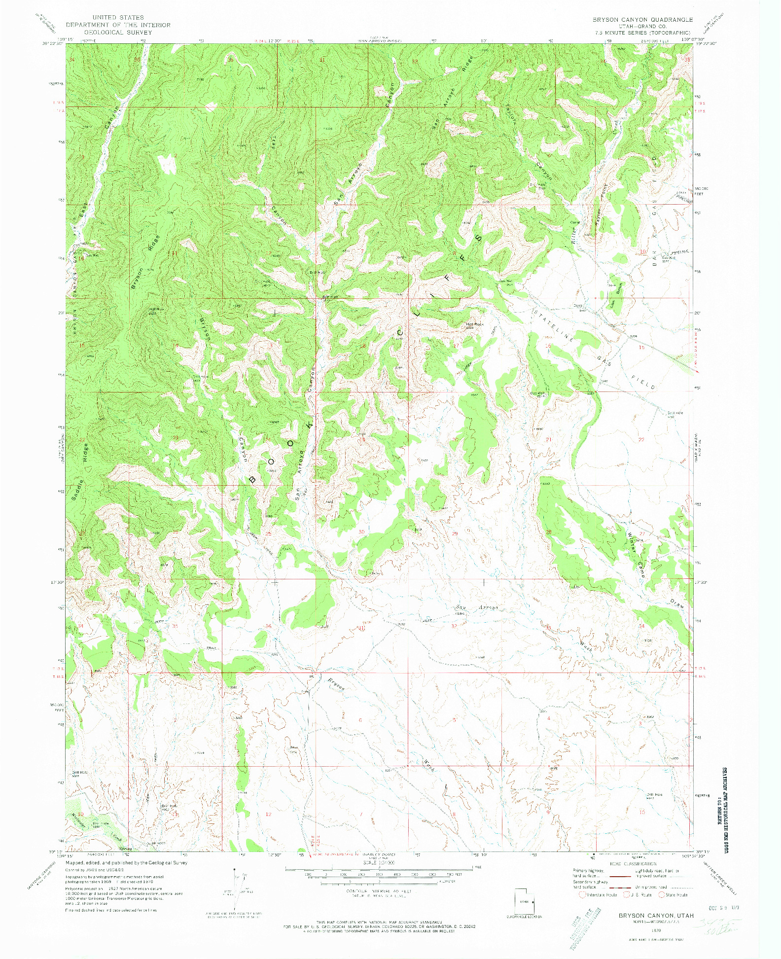USGS 1:24000-SCALE QUADRANGLE FOR BRYSON CANYON, UT 1970