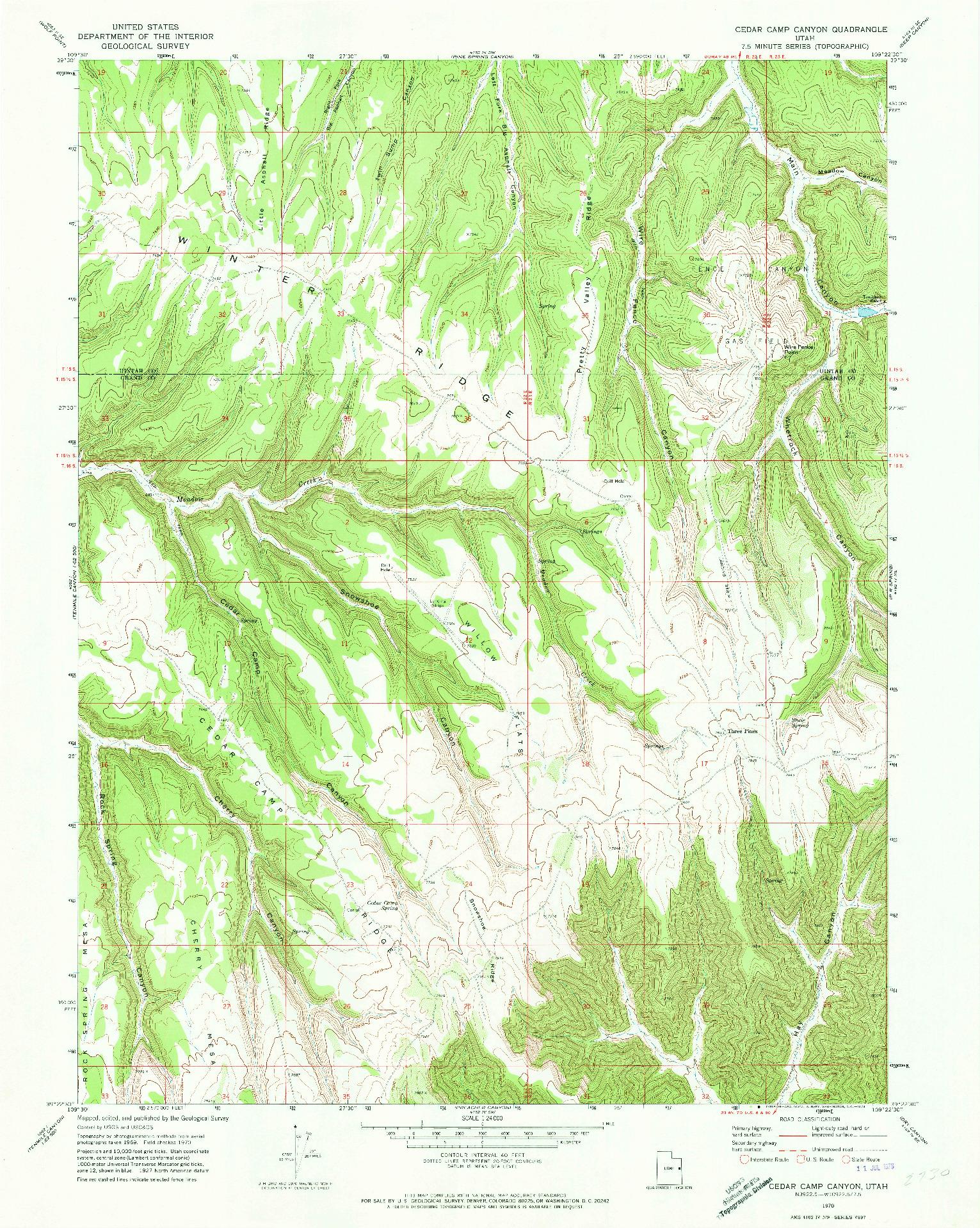 USGS 1:24000-SCALE QUADRANGLE FOR CEDAR CAMP CANYON, UT 1970