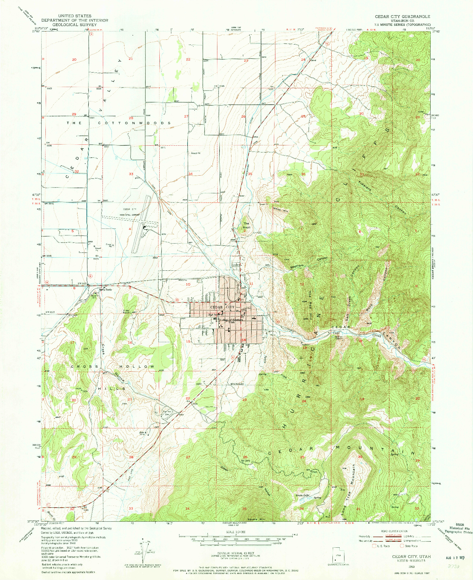 USGS 1:24000-SCALE QUADRANGLE FOR CEDAR CITY, UT 1950